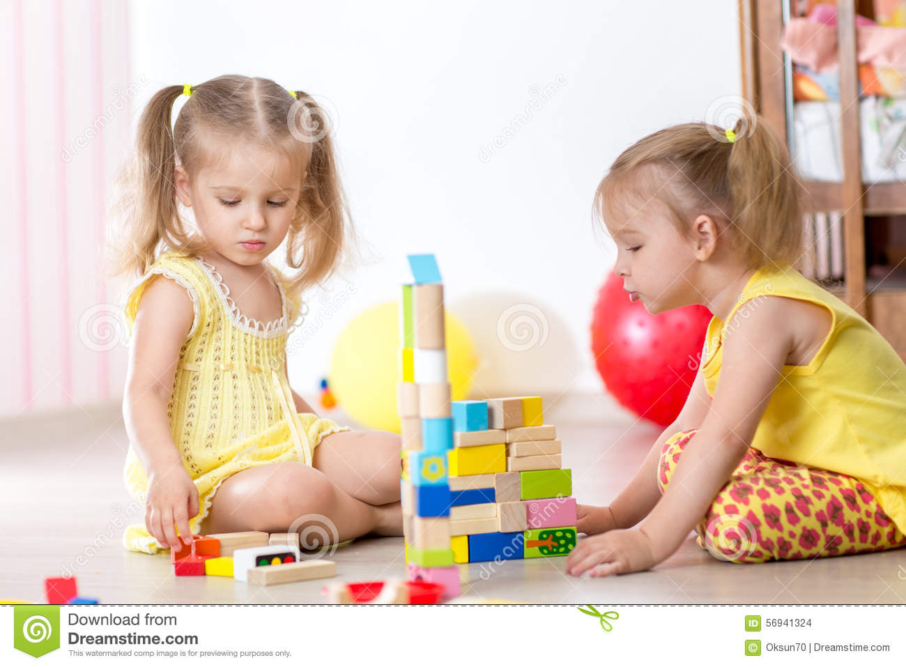 Kids Girls Playing At Home Stock Photo Image Of Building
