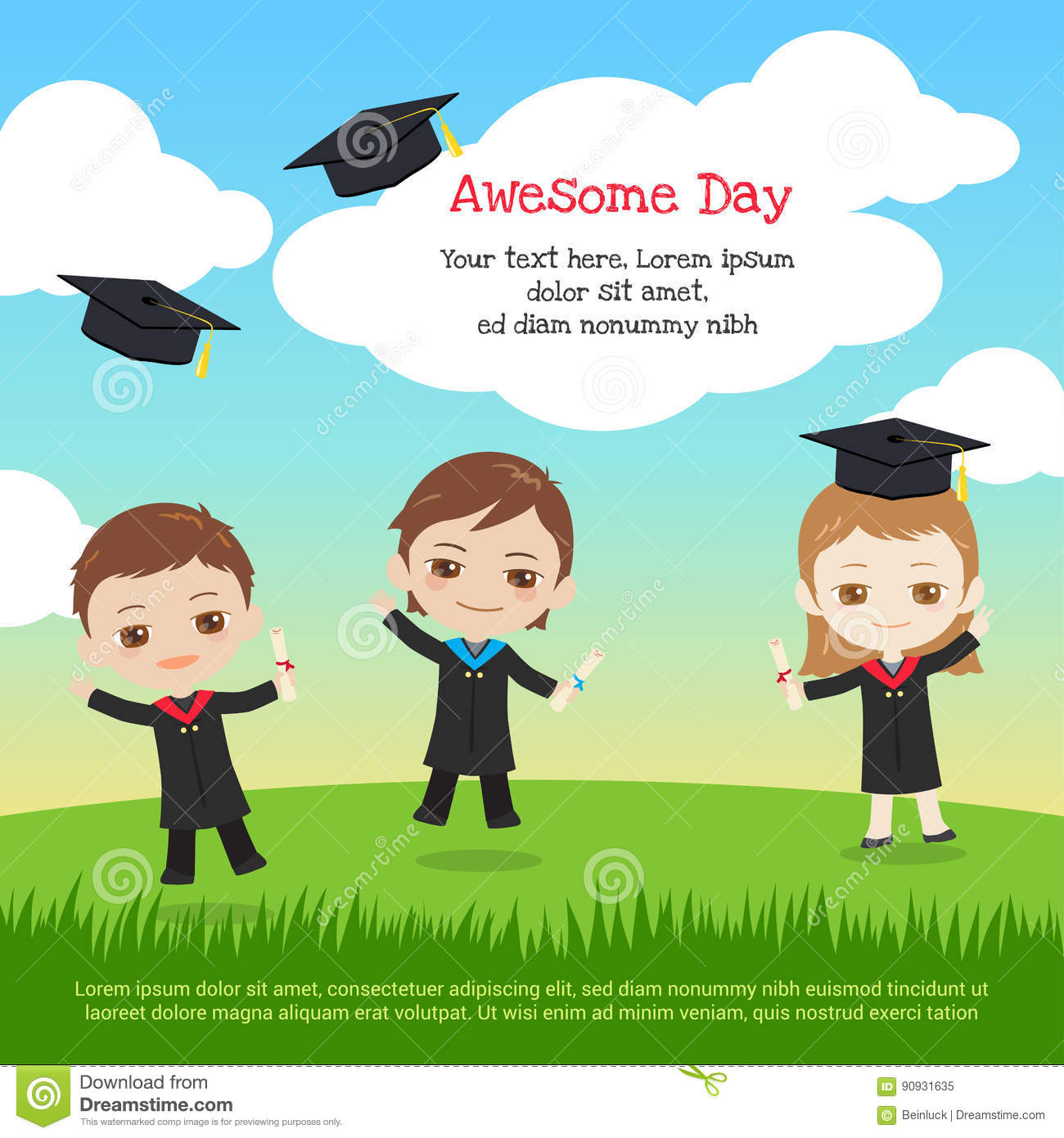Kids Graduation Day With Boy And Girl Throwing Graduation Cap To Stock Vector Illustration Of Success Graduate 90931635