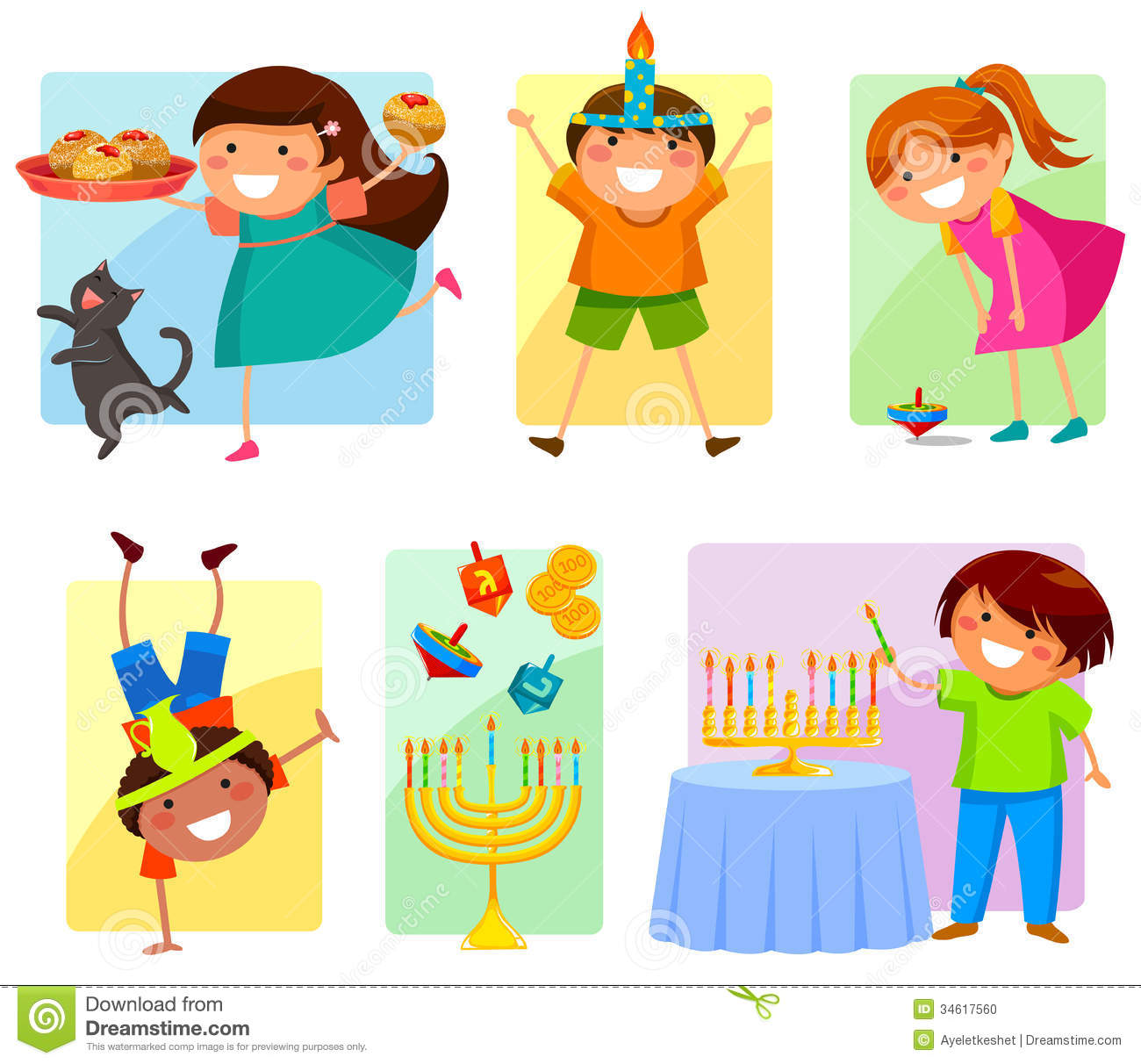 Kids On Hanukkah Stock Vector Illustration Of Coins