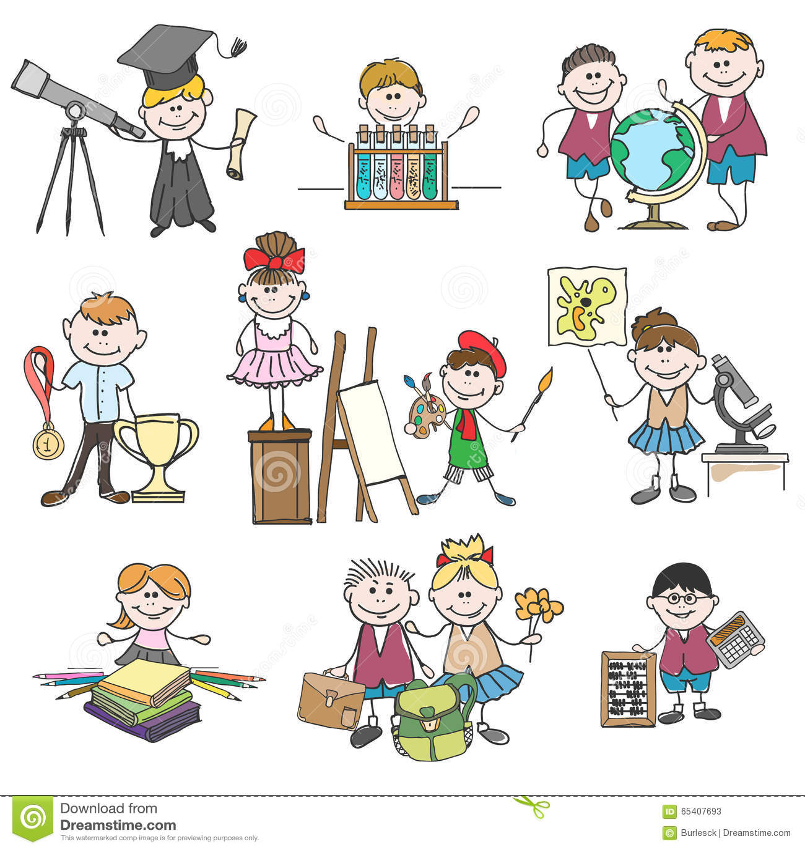 Kids Hobbies Doodle Drawings Stock Vector