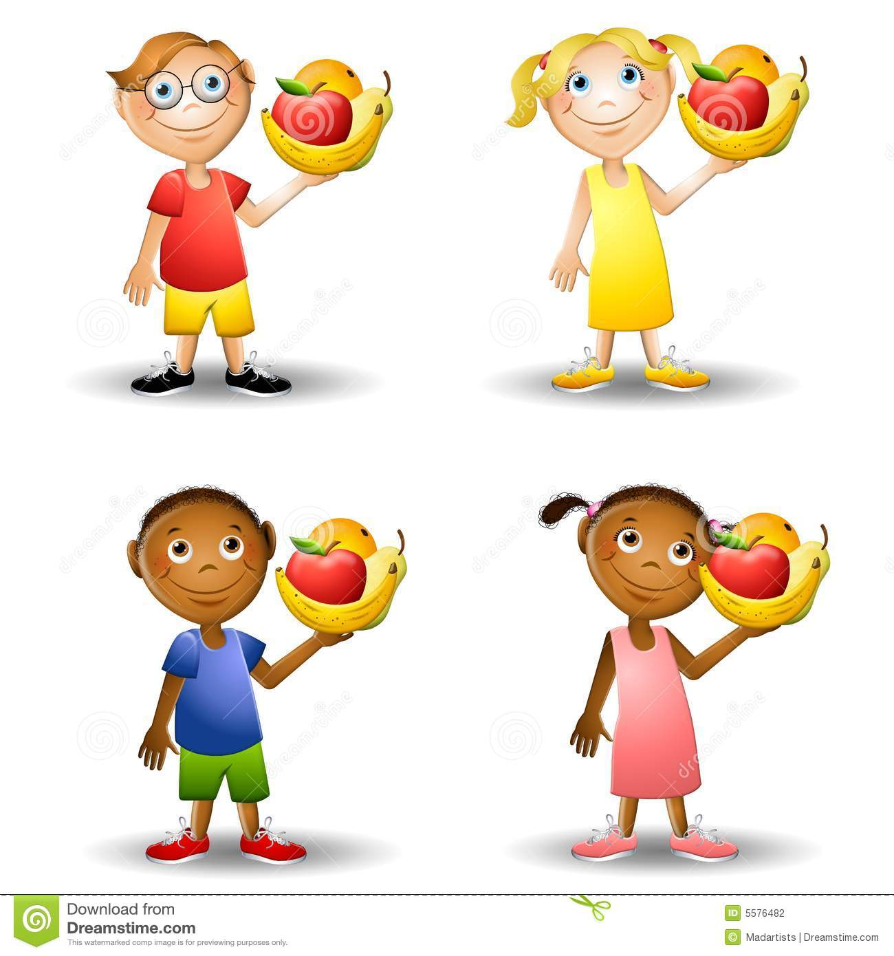 Kids Holding Healthy Foods 2 Stock Illustration