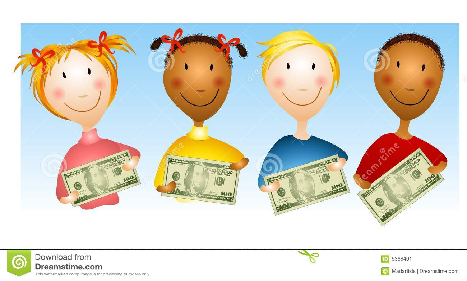 Kids Holding Money Bills Stock Illustration Illustration