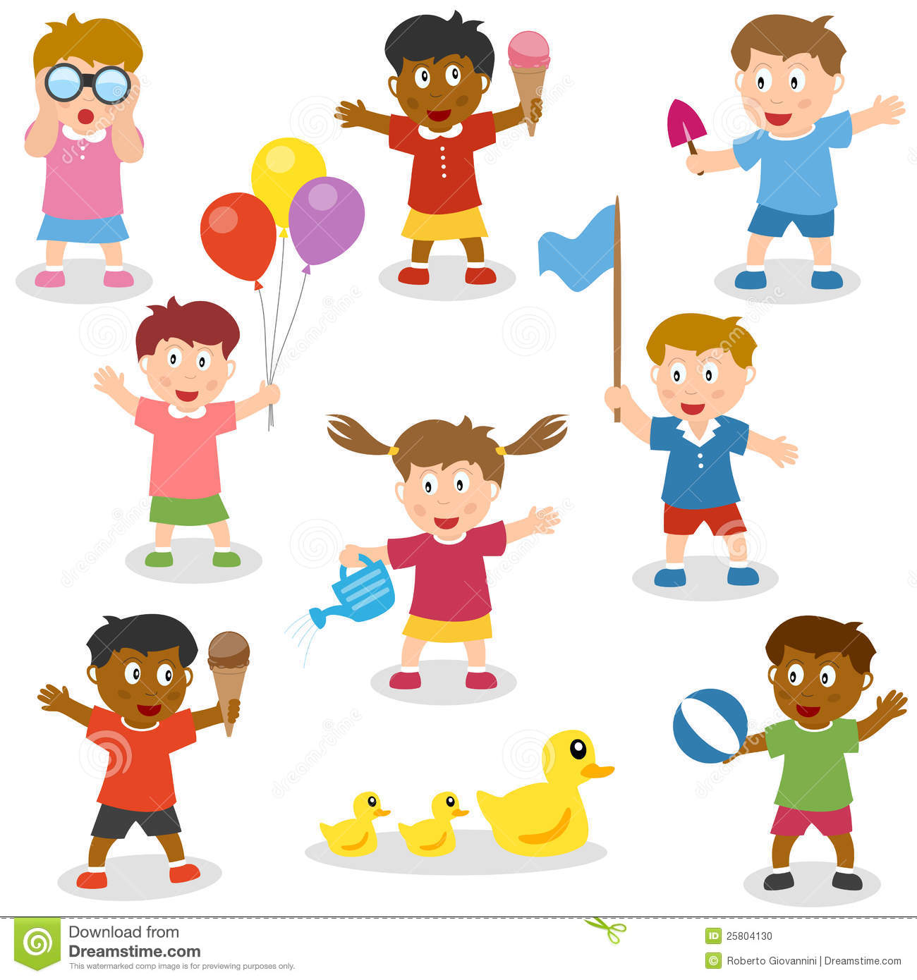 Kids Holding Objects Set Stock Vector Illustration Of