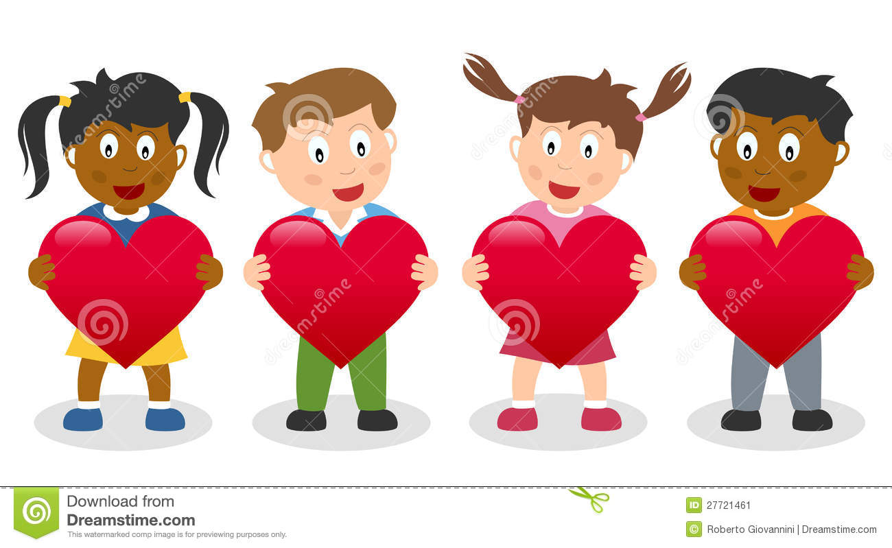 Kids Holding A Red Heart Stock Vector Illustration Of
