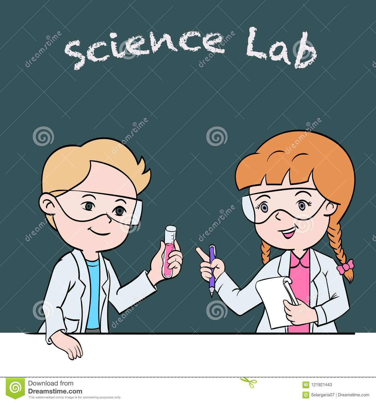 School Children In Lab Clothing And Safety Glasses Conduct