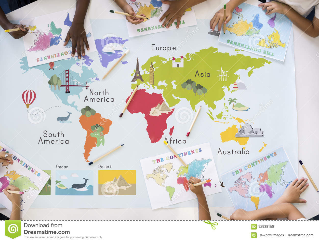 Kids Learning World Map With Continents Countries Ocean Geograph Stock Photo