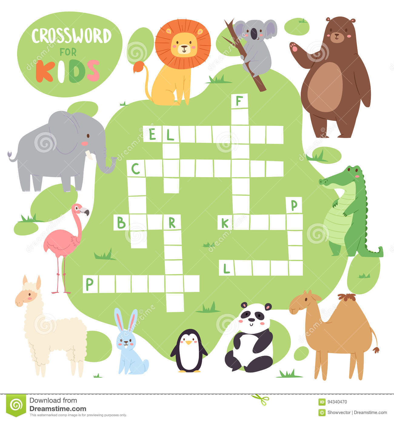 Kids Magazine Book Puzzle Game Of Forest Animals Logical Crossword Words Worksheet Colorful