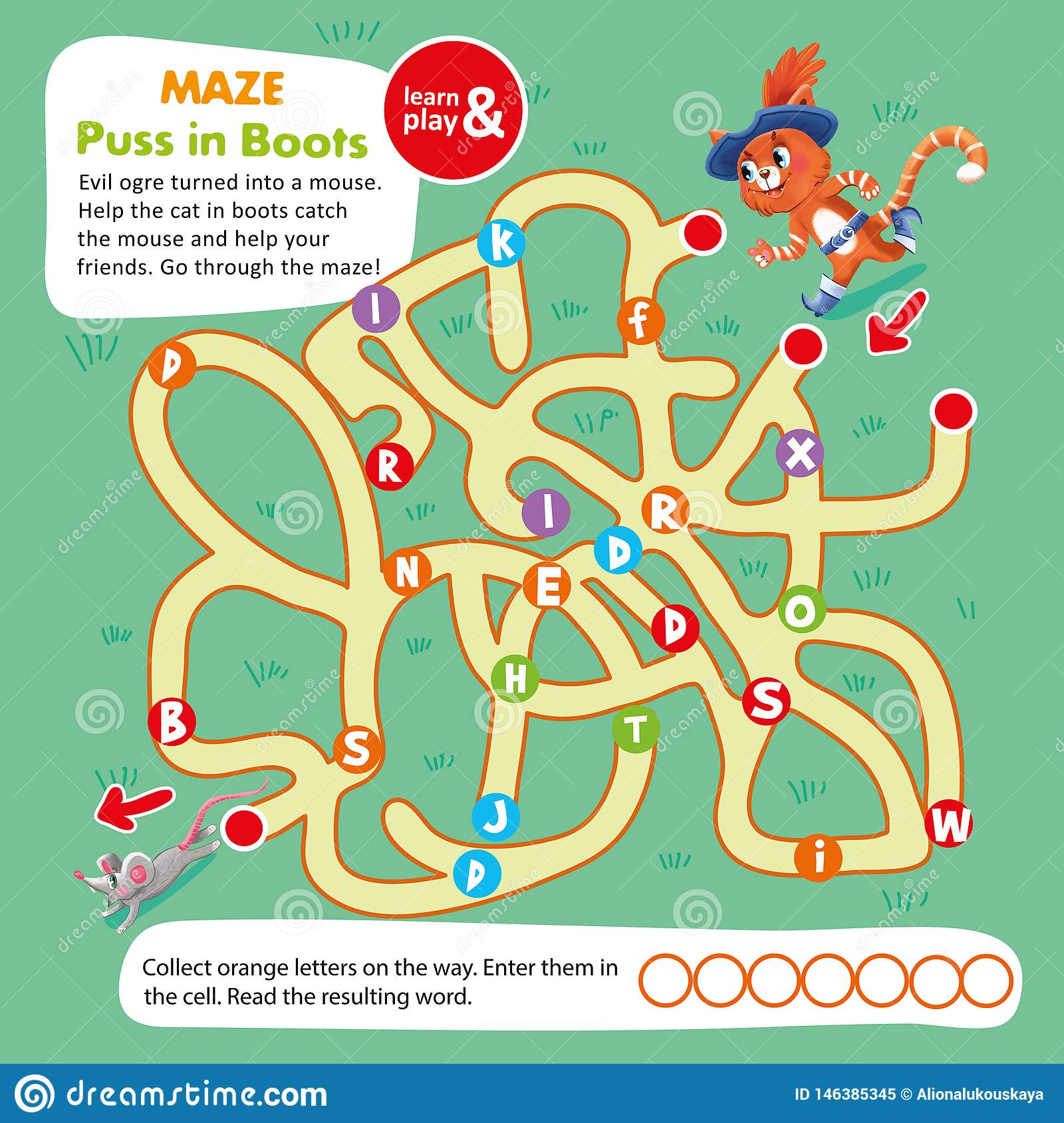 Kids Maze Game Puzzle Cat In Boot Printable Stock