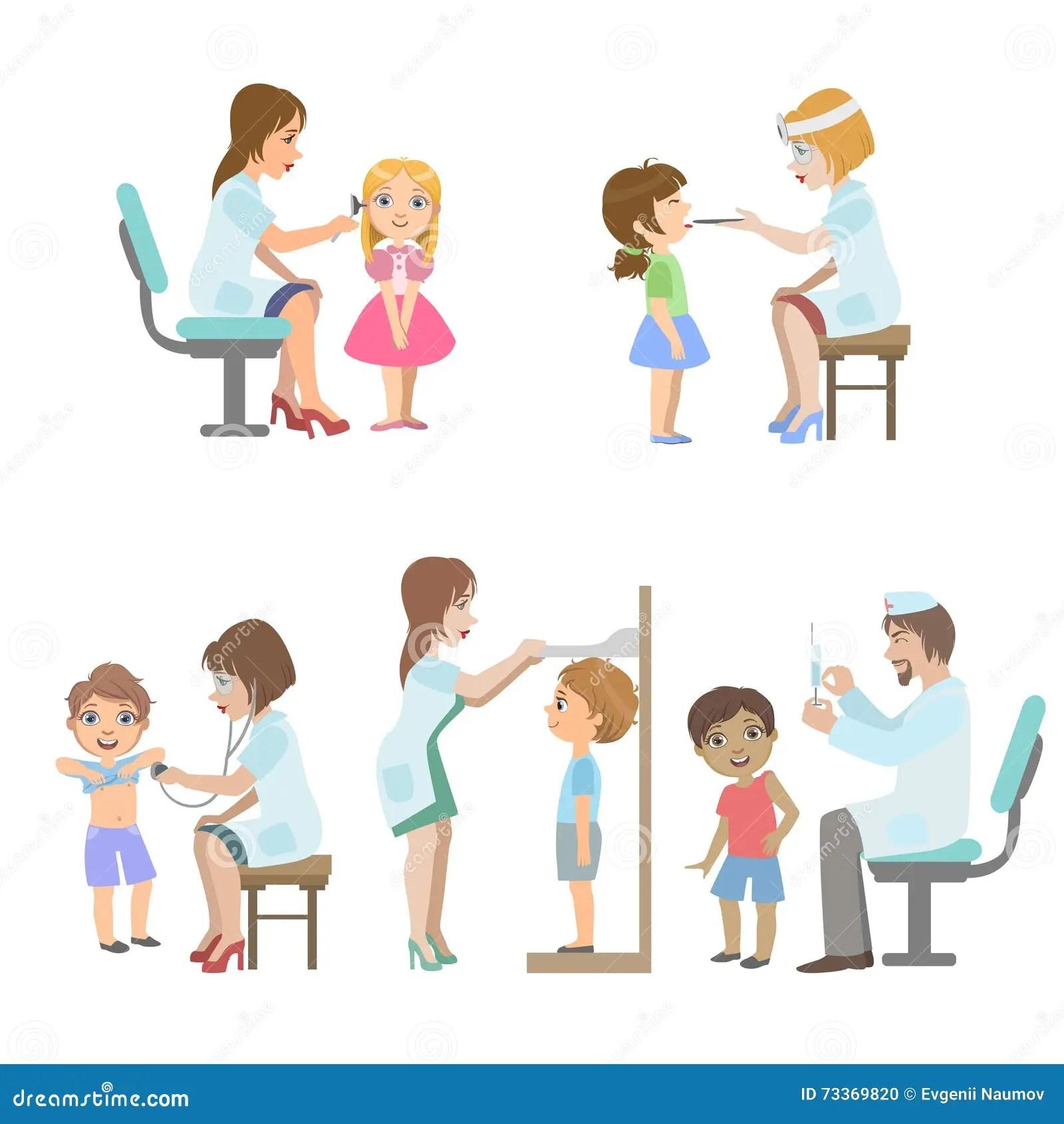 Kids On Medical Examination Stock Vector