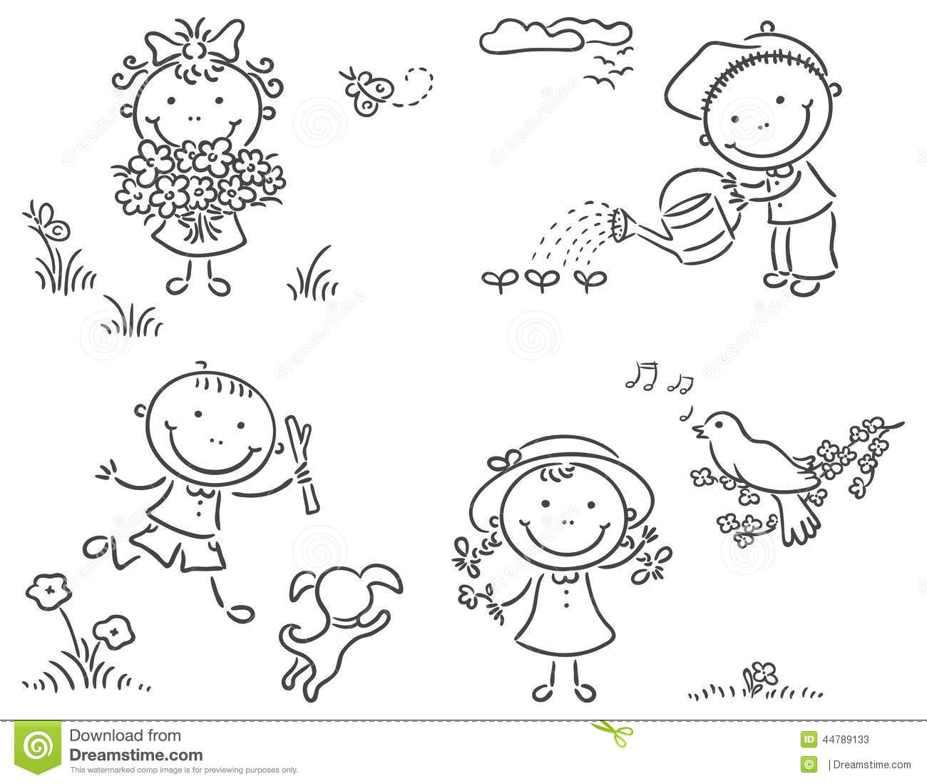 Kids Outdoors In Spring Stock Vector Illustration Of