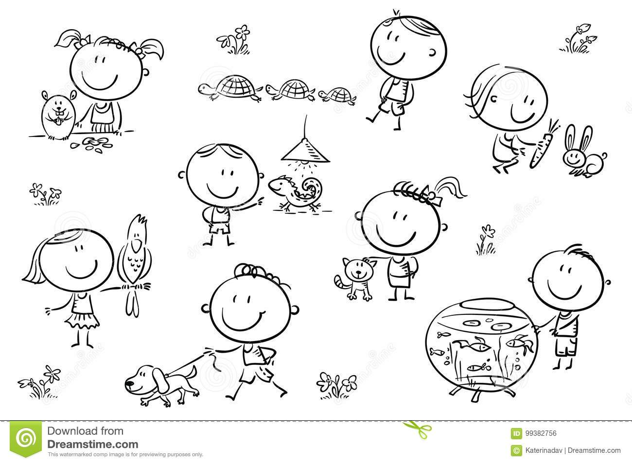 Kids And Pets Stock Vector Illustration Of Care