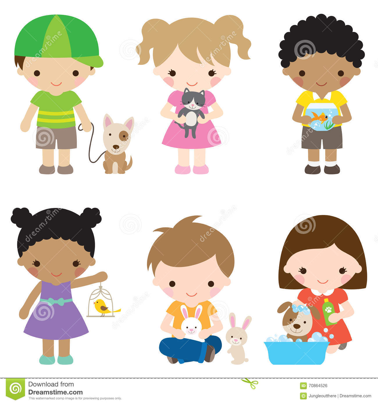 Kids And Pets Stock Vector