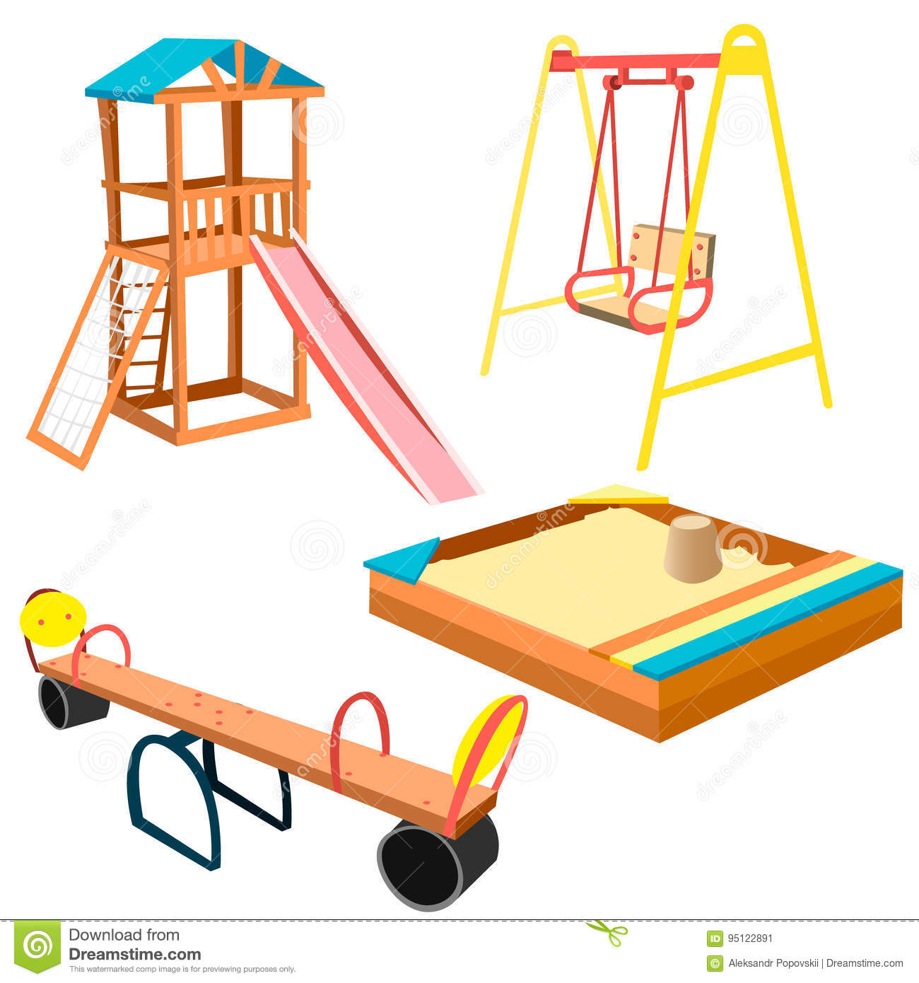 Kids Playground Equipment With Swings And Slides Stock