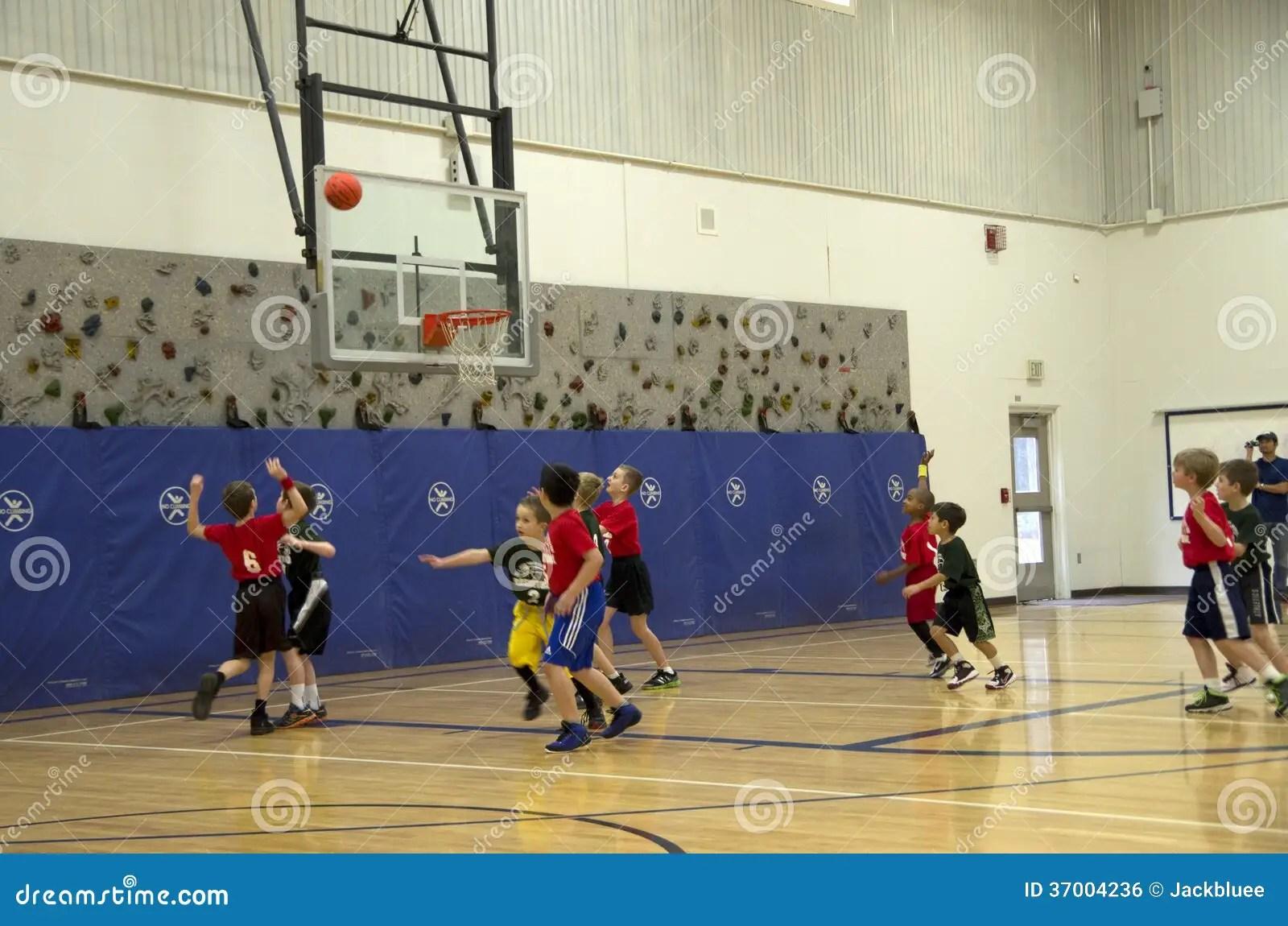 Kids Playing Basketball Match Editorial Photo
