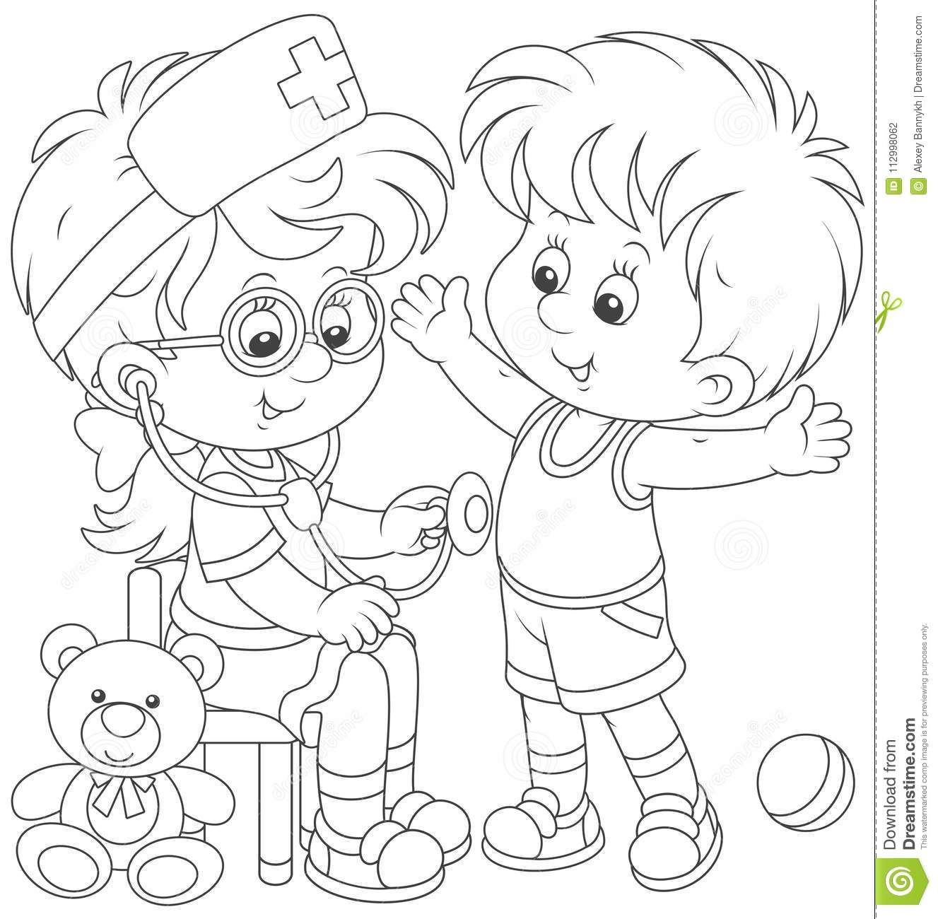 Kids Playing Doctor And Patient Stock Vector