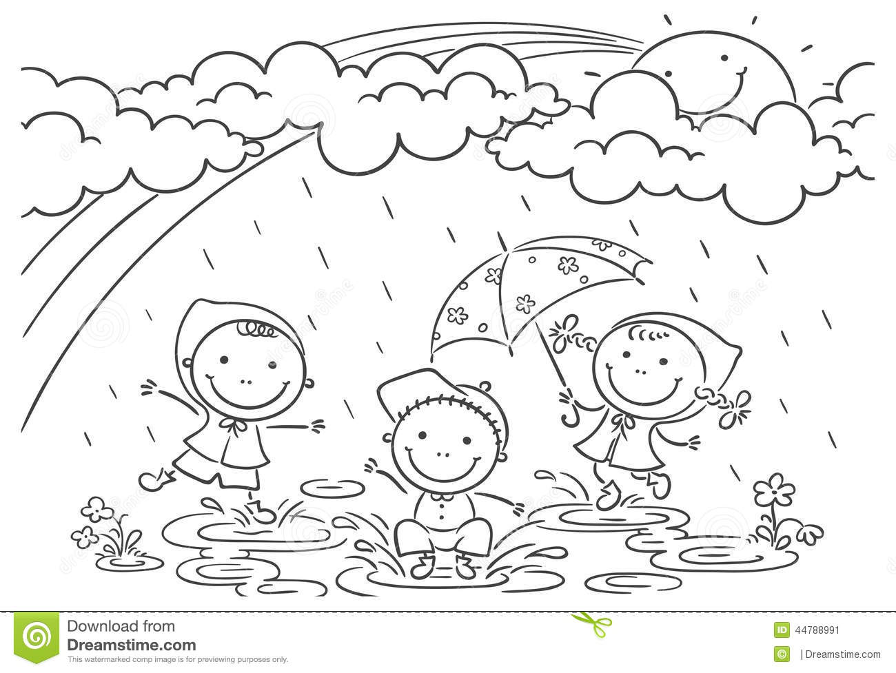 Kids Playing In The Rain Stock Vector