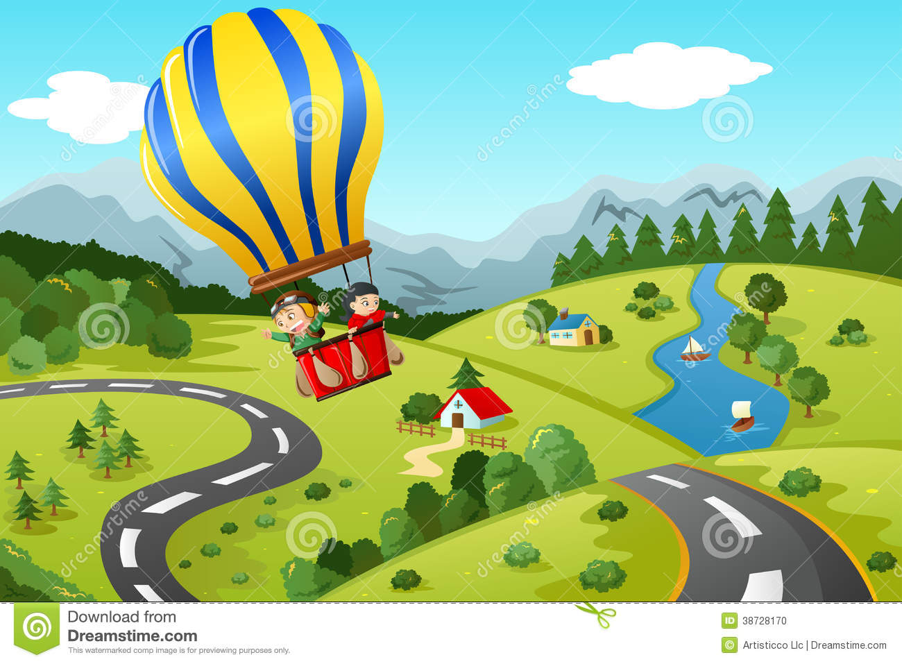 Kids Riding Hot Air Balloon Stock Photo