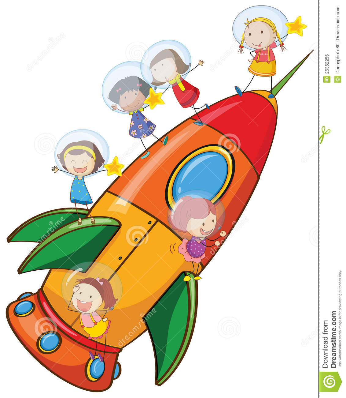 Kids On Rocket Stock Vector Image Of Ship Star Magic
