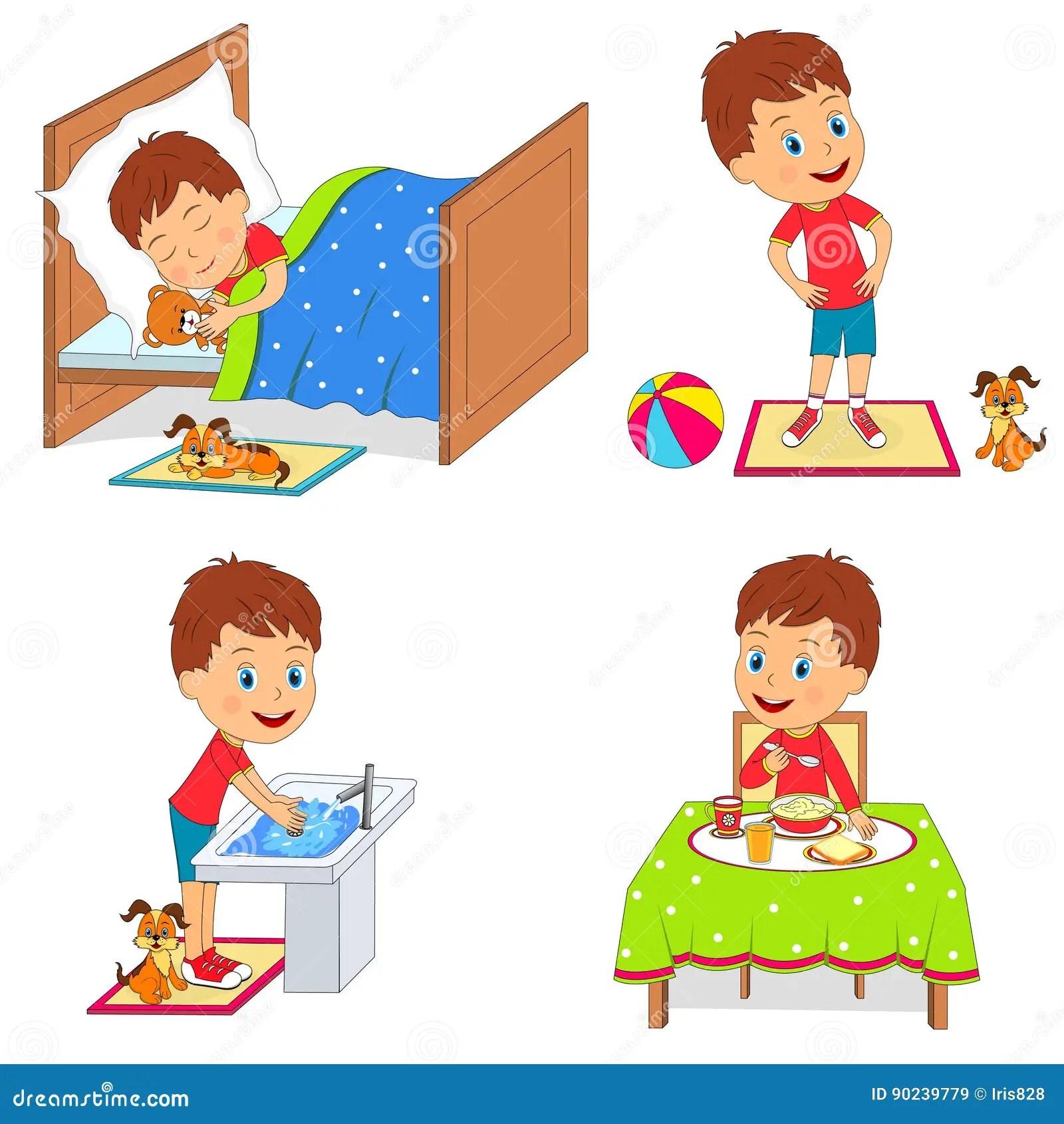Kids Daily Routine Stock Vector Illustration Of Preschool