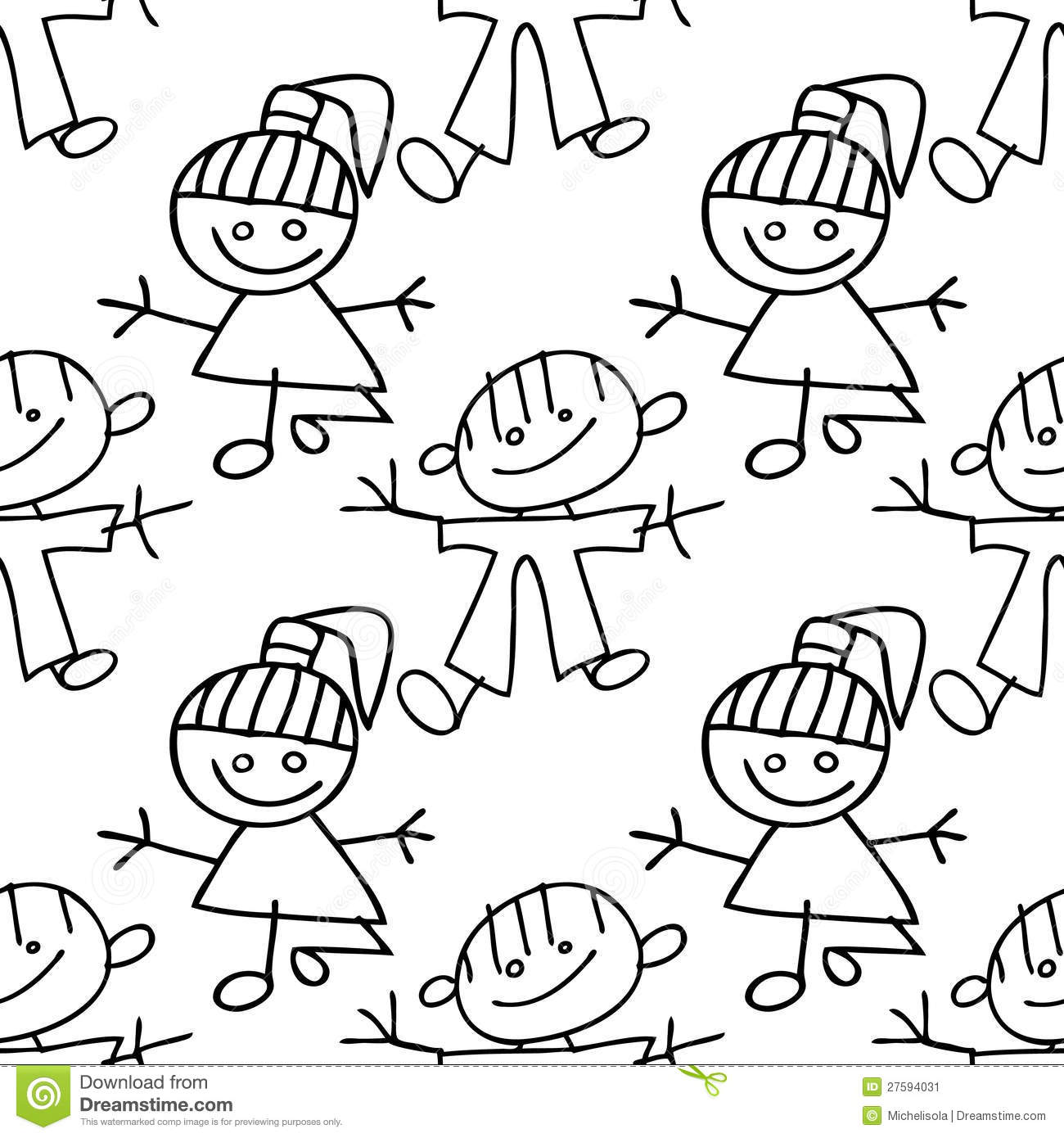 Kids Seamless Pattern Doodle Stock Vector