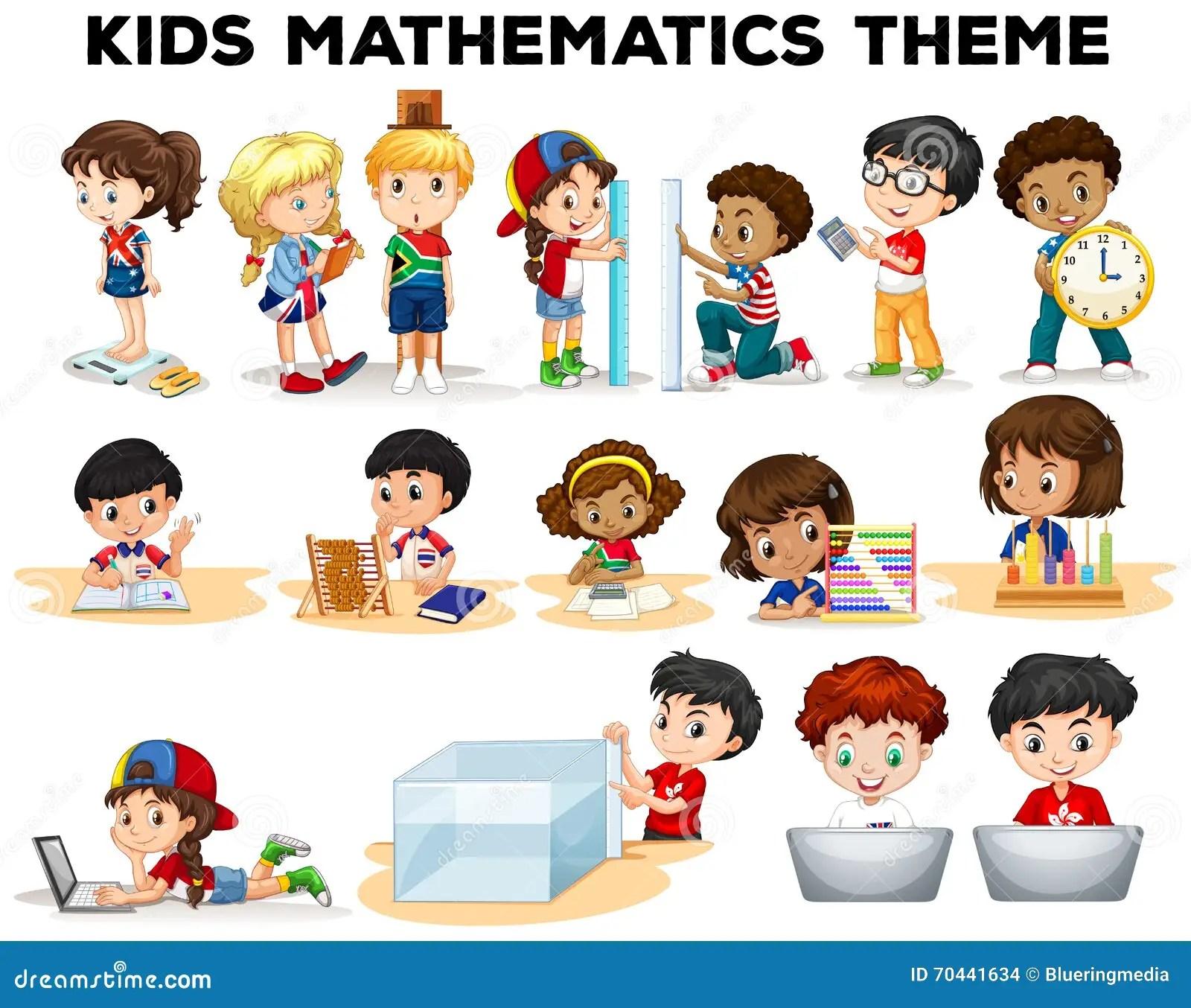 Kids Solving Math Problems Stock Vector Illustration Of