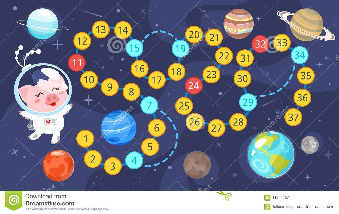 Kids Space Board Game Template Stock Vector