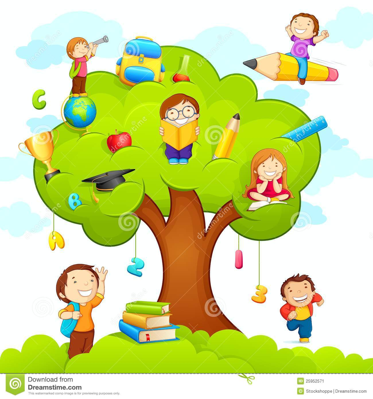 Kids Studying On Tree Stock Vector Illustration Of Park