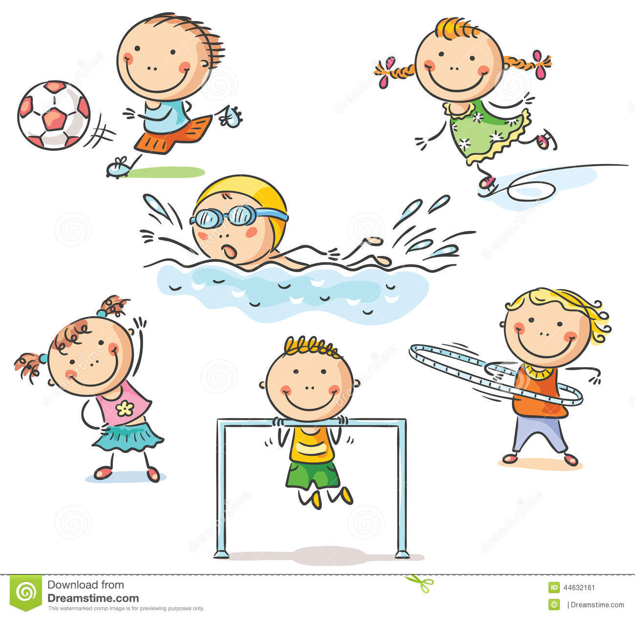 Kids And Their Sports Activities Stock Vector
