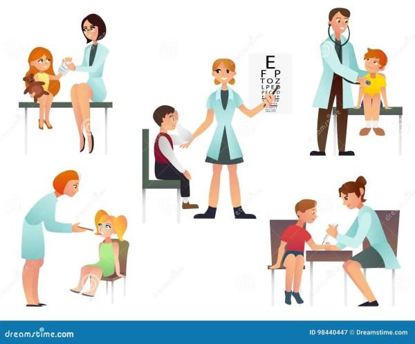 Kids Visit A Doctor Cartoon Flat Vector Illustration