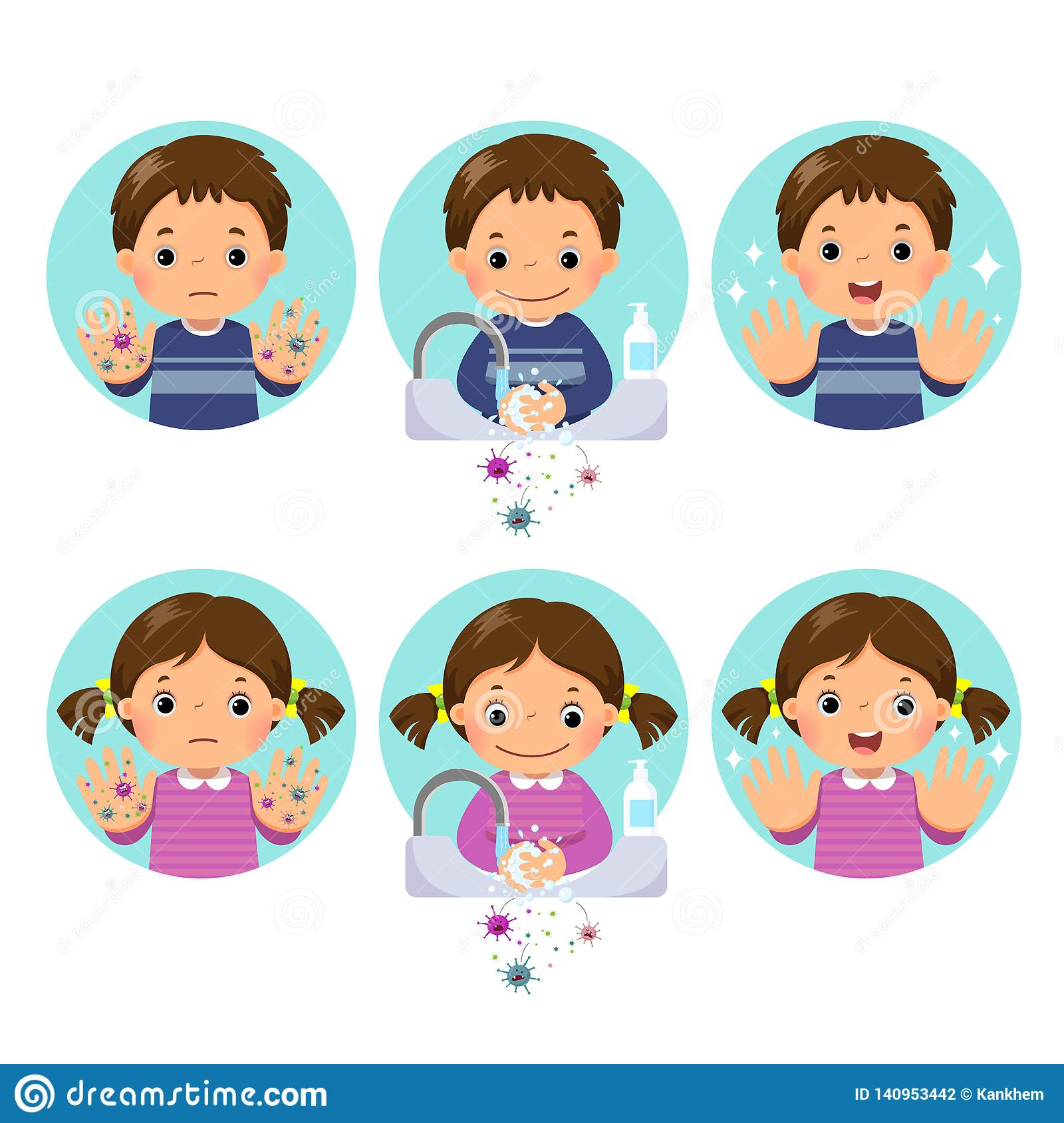 Kids Washing And Cleaning Hands With Bubbles Soap At The
