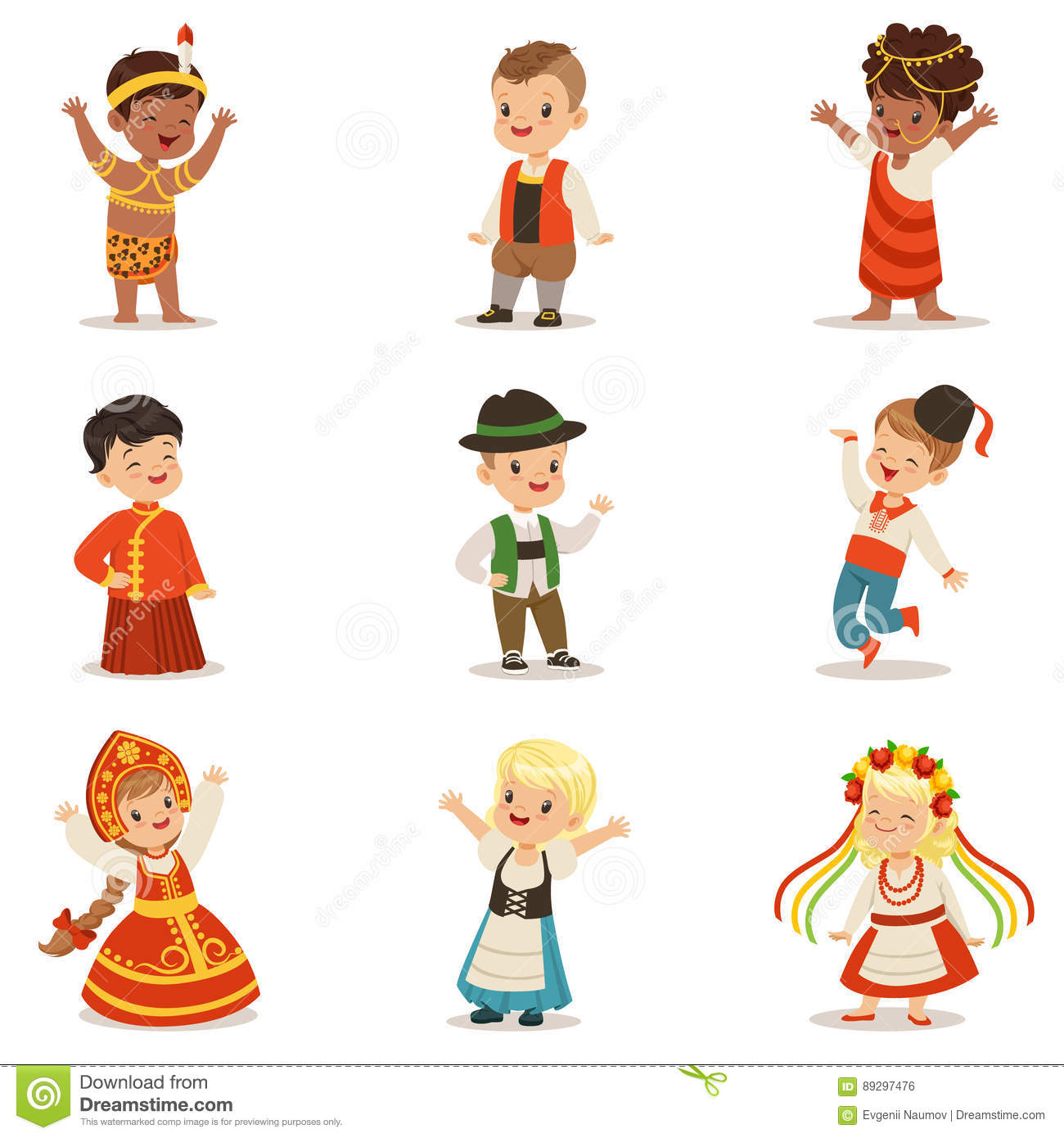 Kids Wearing National Costumes Of Different Countries Set