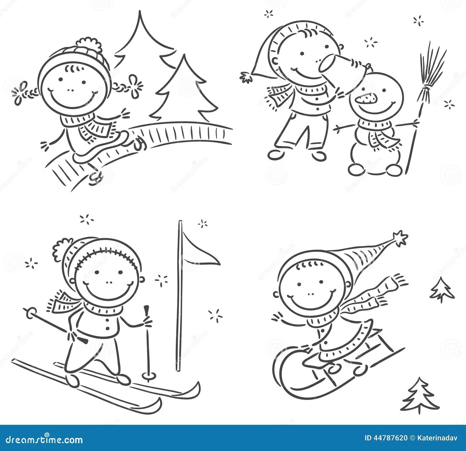 Kids Winter Outdoors Activities Stock Vector