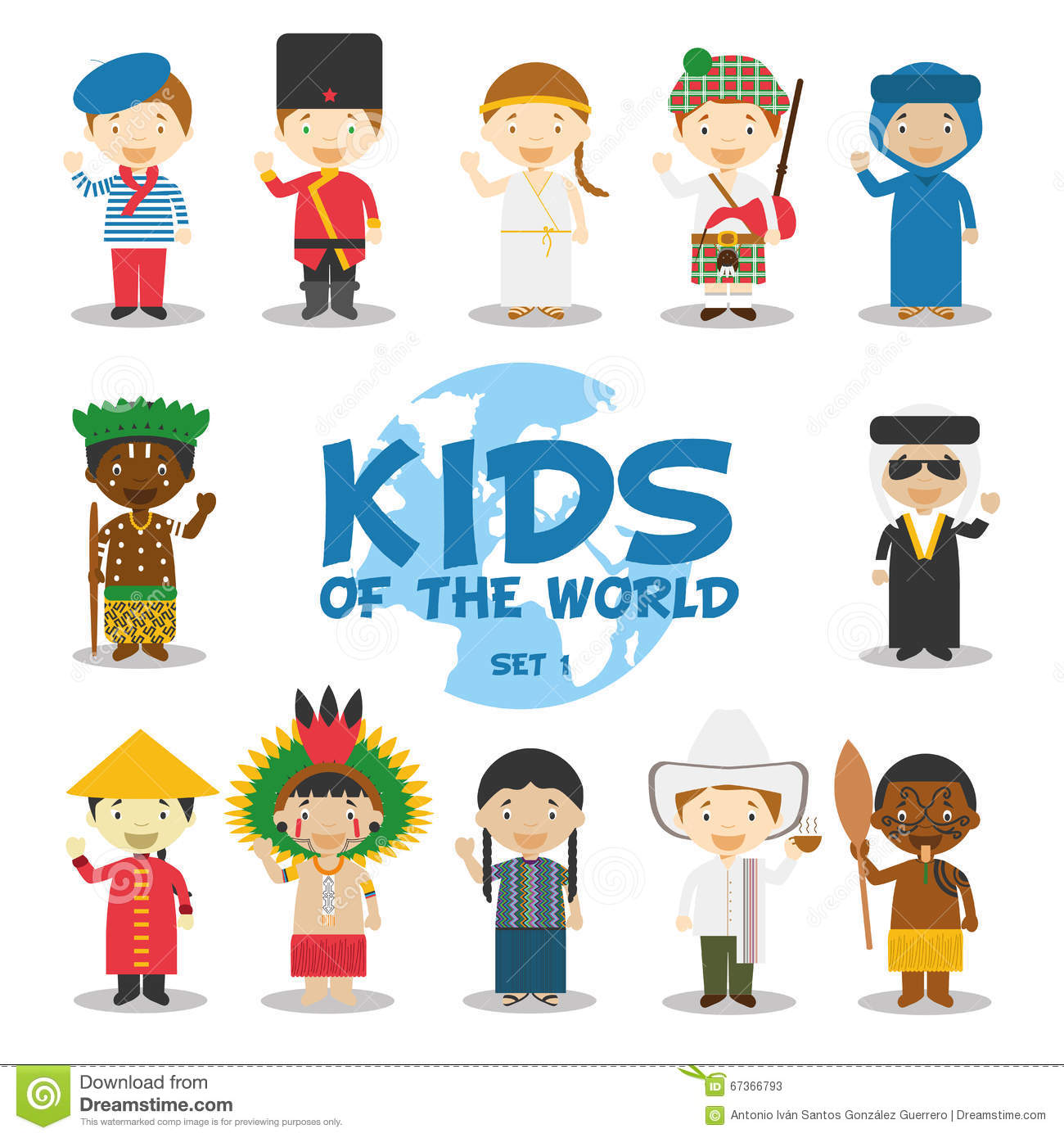 Kids Of The World Illustration Nationalities Set 1 Set
