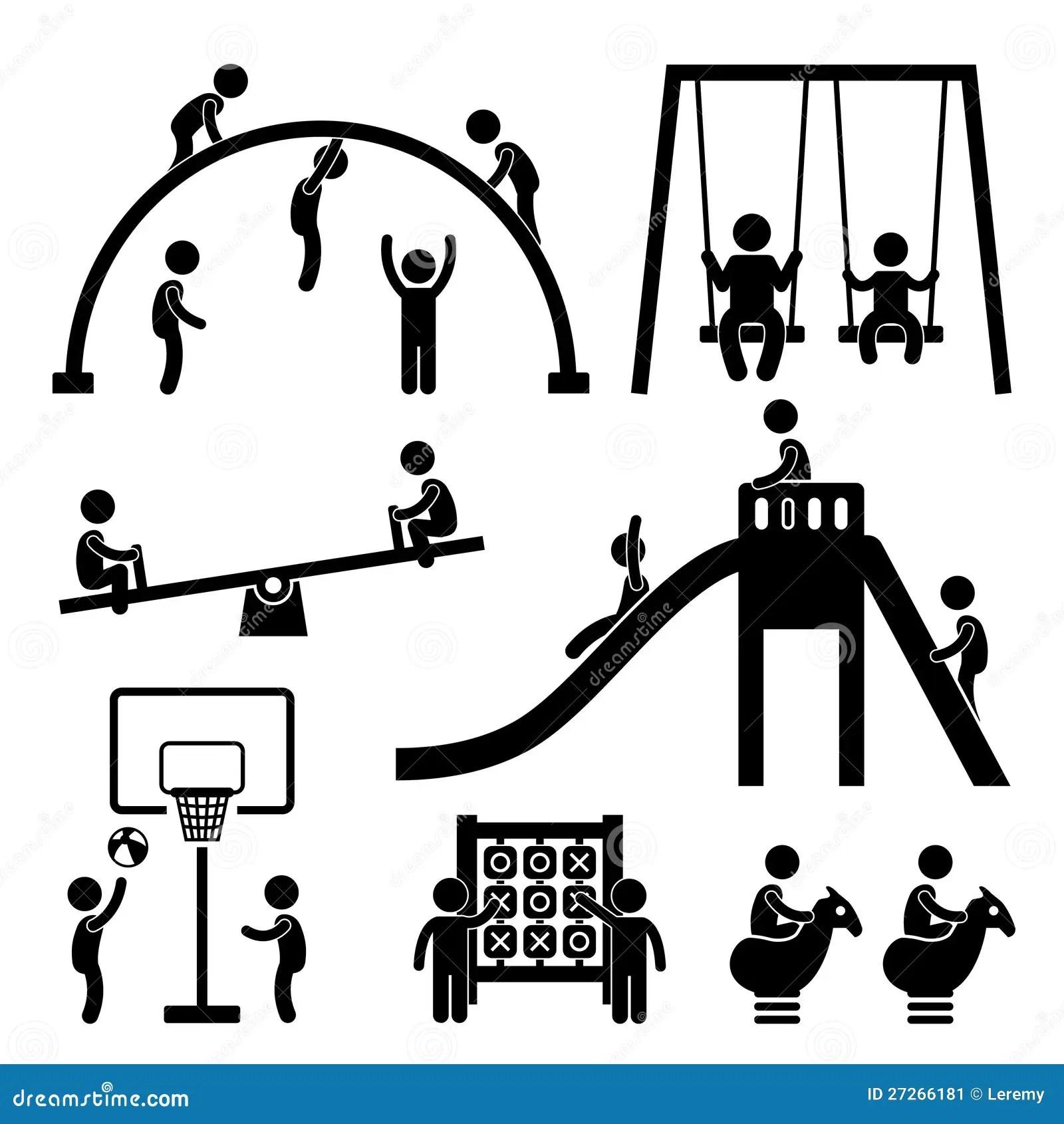 Kind Spielplatz Im Freienpark Vektor Abbildung