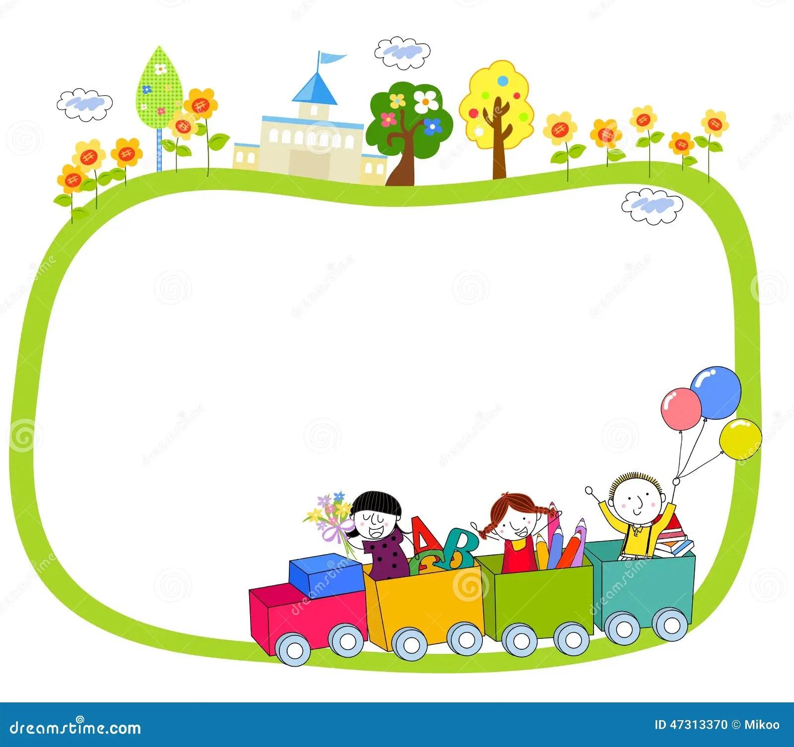 Kinder Auf Einem Zug Und Einem Rahmen Vektor Abbildung