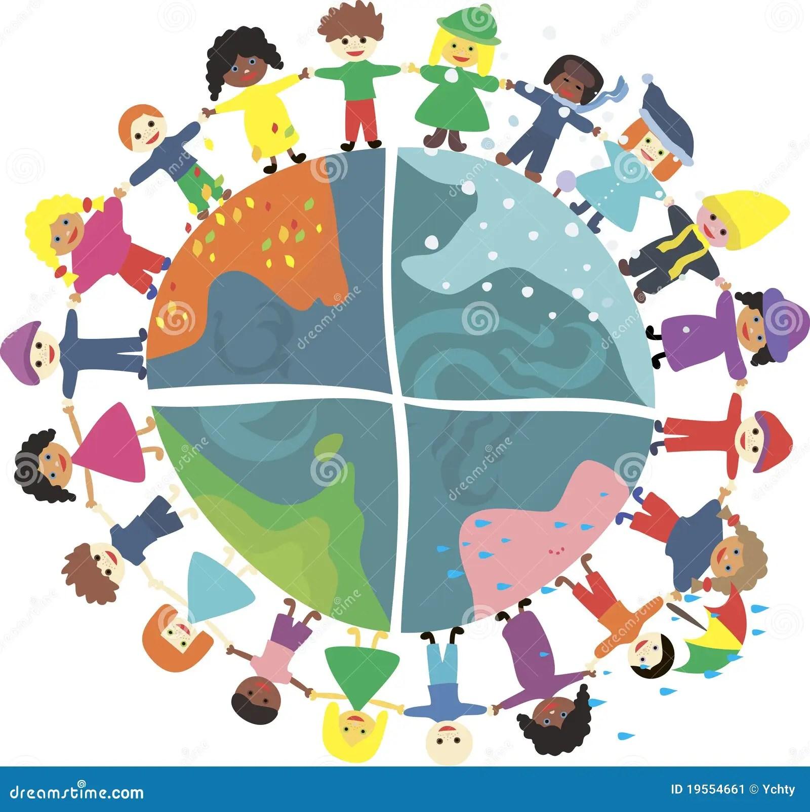 Kinder Der Welt Wahrend Der Verschiedenen Jahreszeiten
