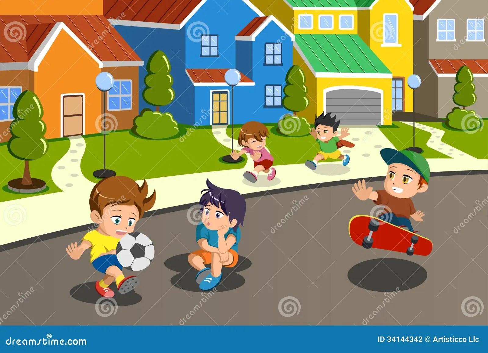 Kinder In Der Stra E Einer Vorstadtnachbarschaft