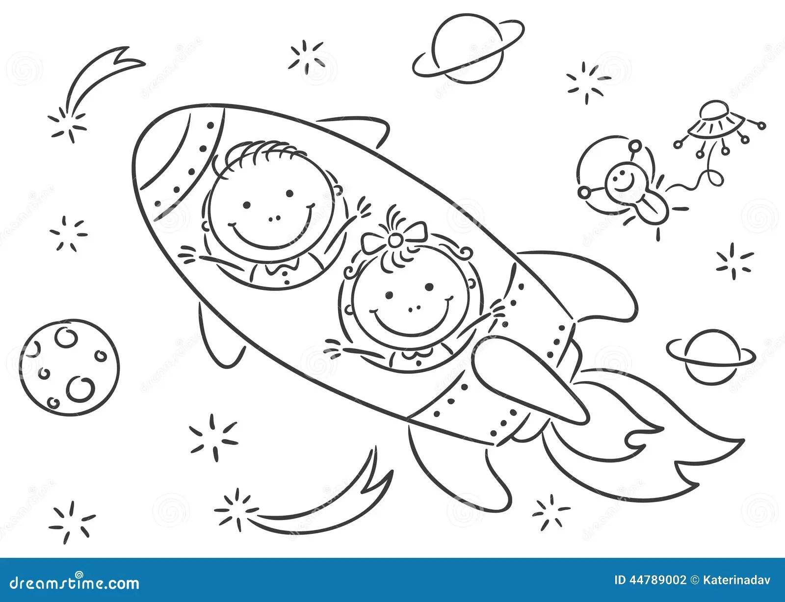 Kinder Raum Erforschen Vektor Abbildung