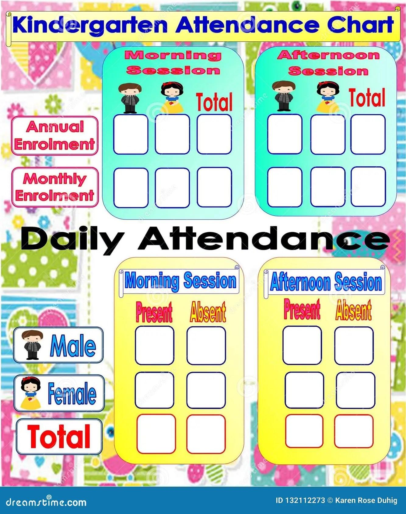 Kindergarten Attendance Chart Stock Illustration