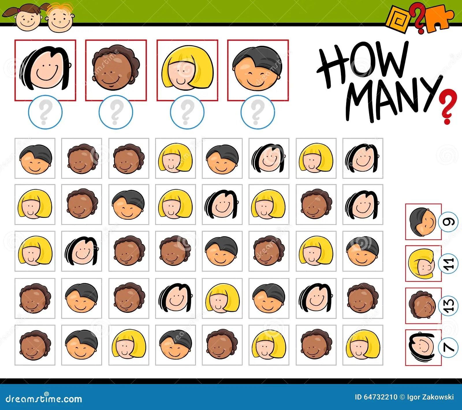 Kindergarten Counting Task Stock Vector Illustration Of
