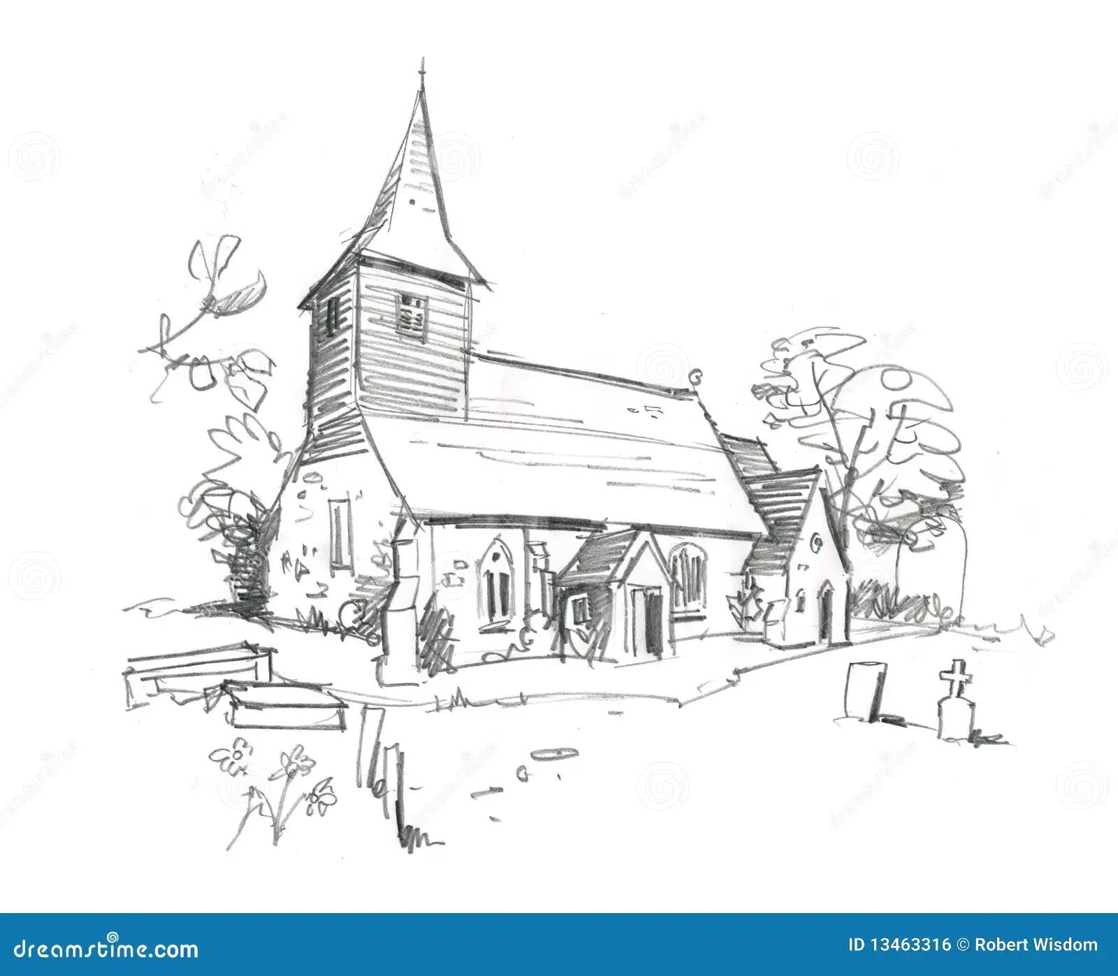 Kirche Bleistift Skizze Stock Abbildung Illustration Von