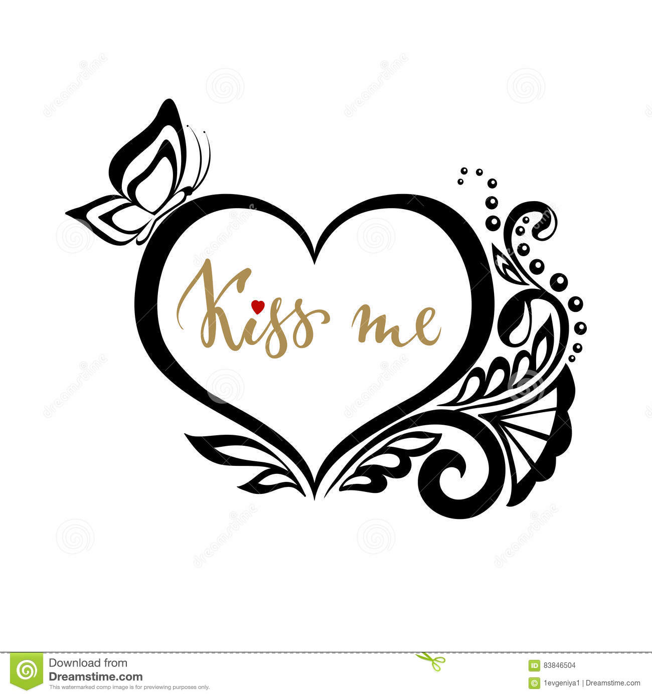 Kiss Me Hand Drawn Calligraphy And Brush Pen Lettering