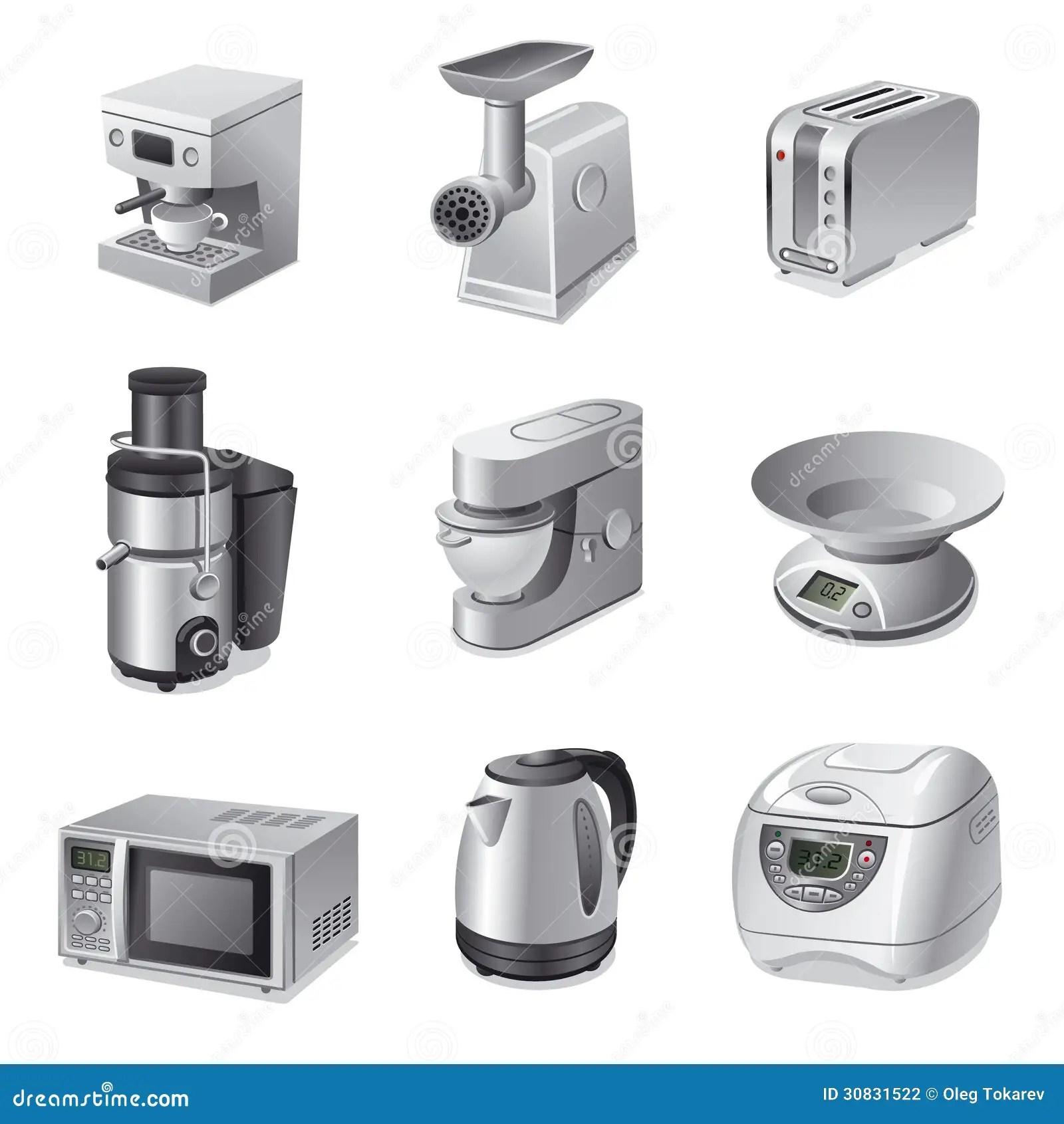 Kitchen Appliances Icon Set Stock Illustration