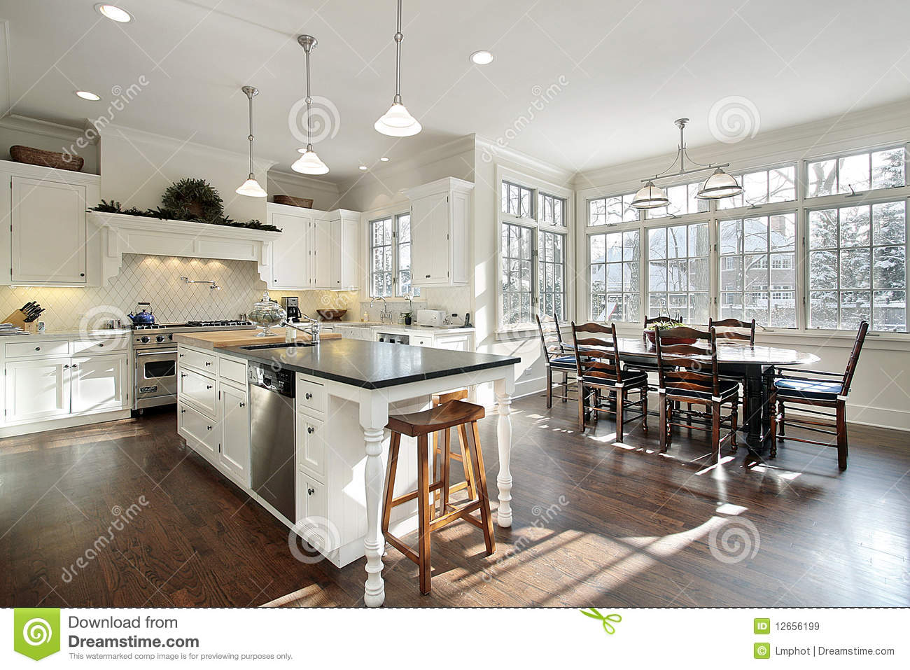 Kitchen With Eating Area Stock Image Image Of House