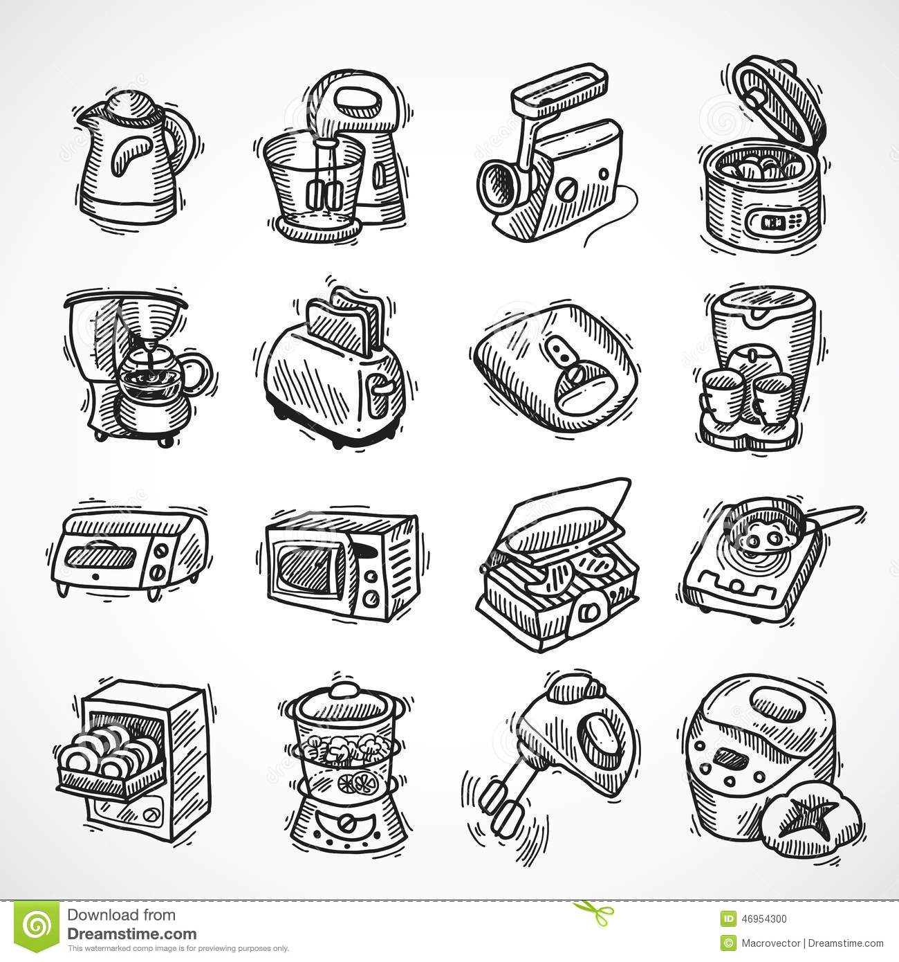 Kitchen Equipment Sketch Stock Vector Image Of Electric