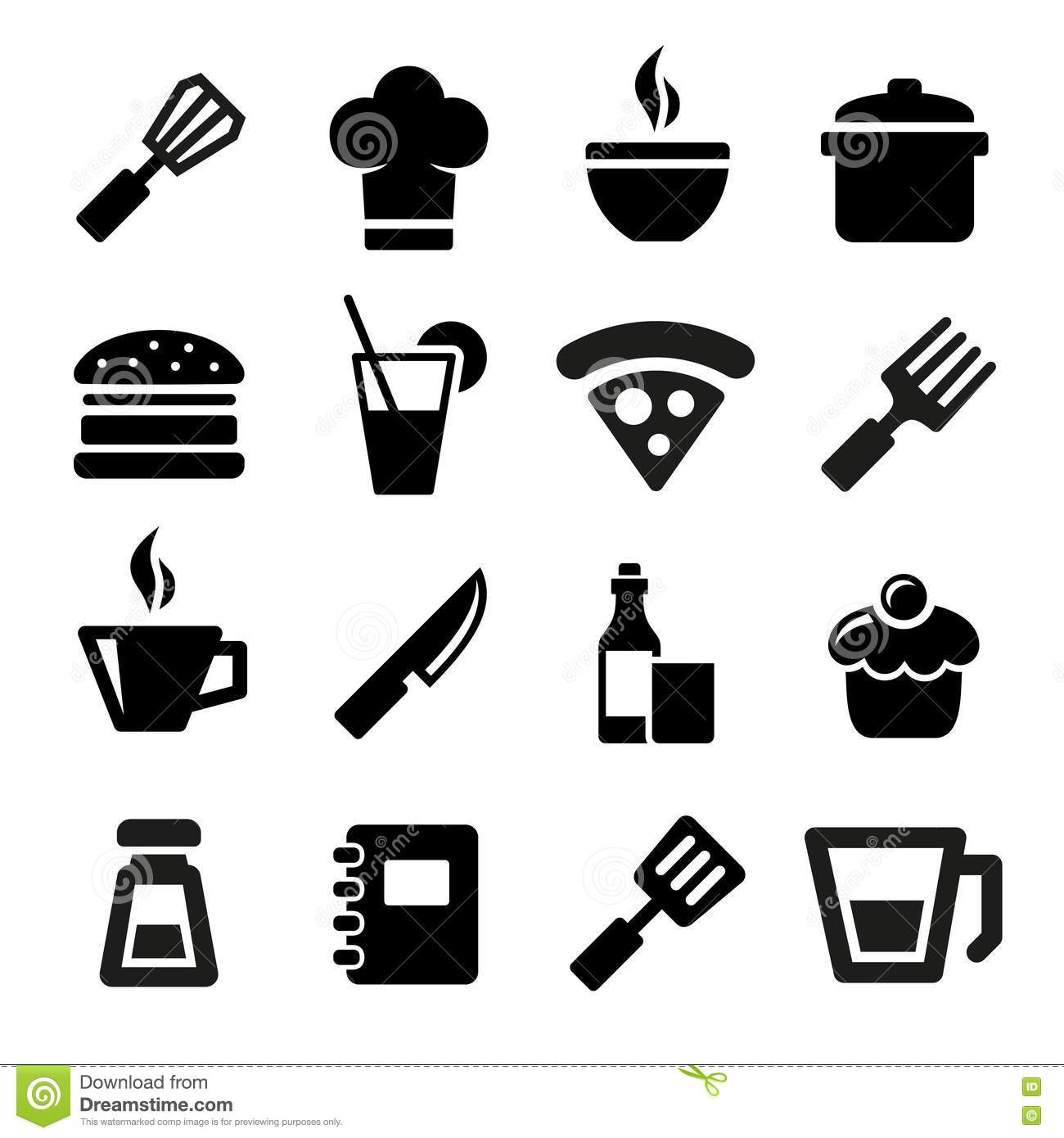 Kitchen Icons Stock Vector Illustration Of Food Home