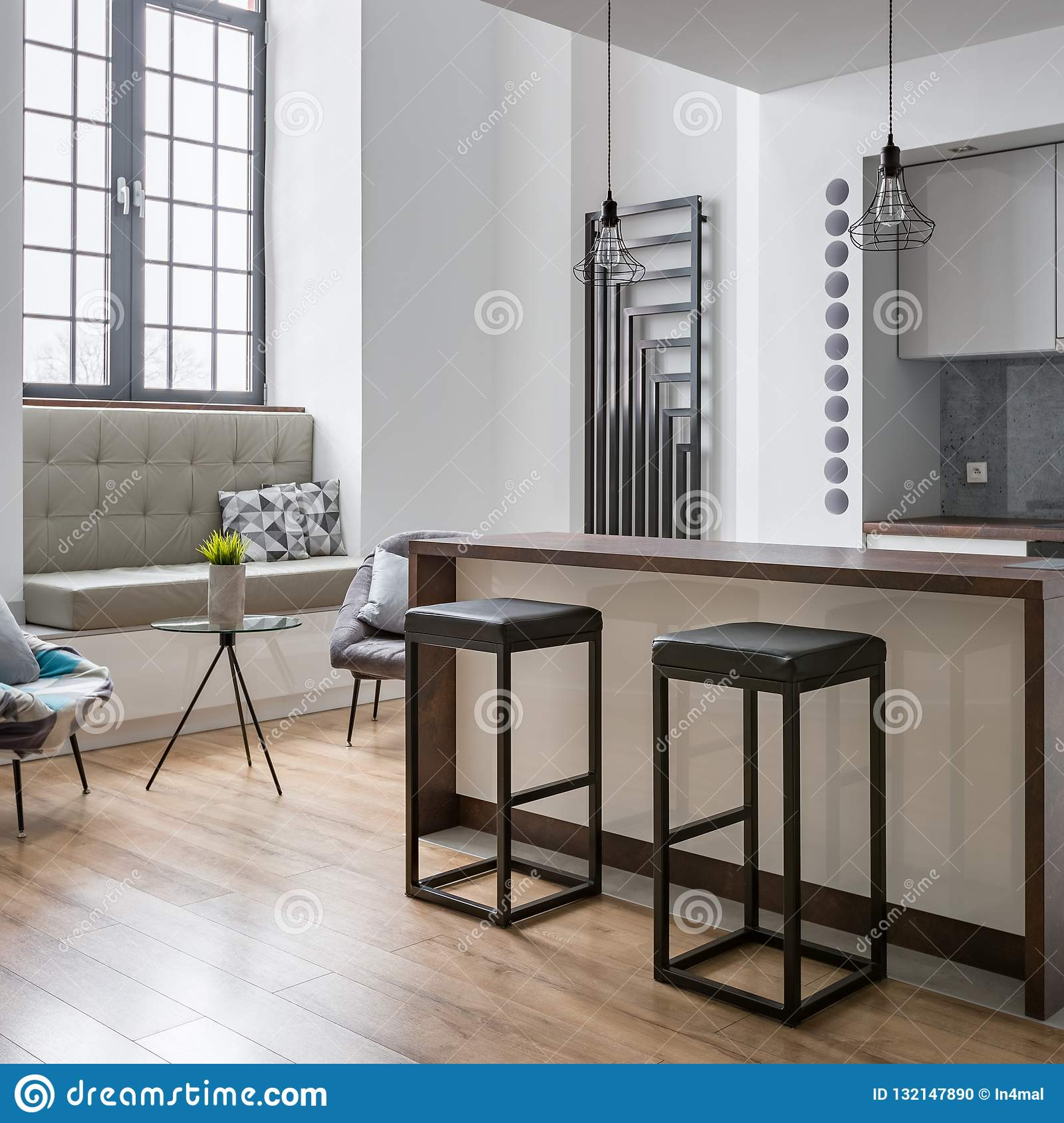 Kitchen Island And Bar Stools Stock Photo Image Of Contemporary Heater 132147890