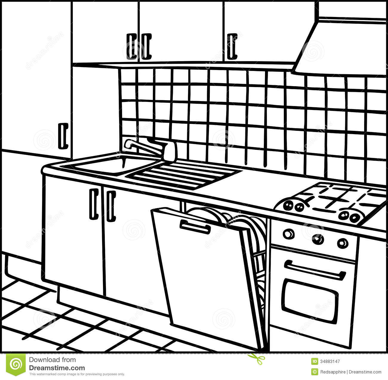 Kitchen Stock Illustration Image Of Architectural