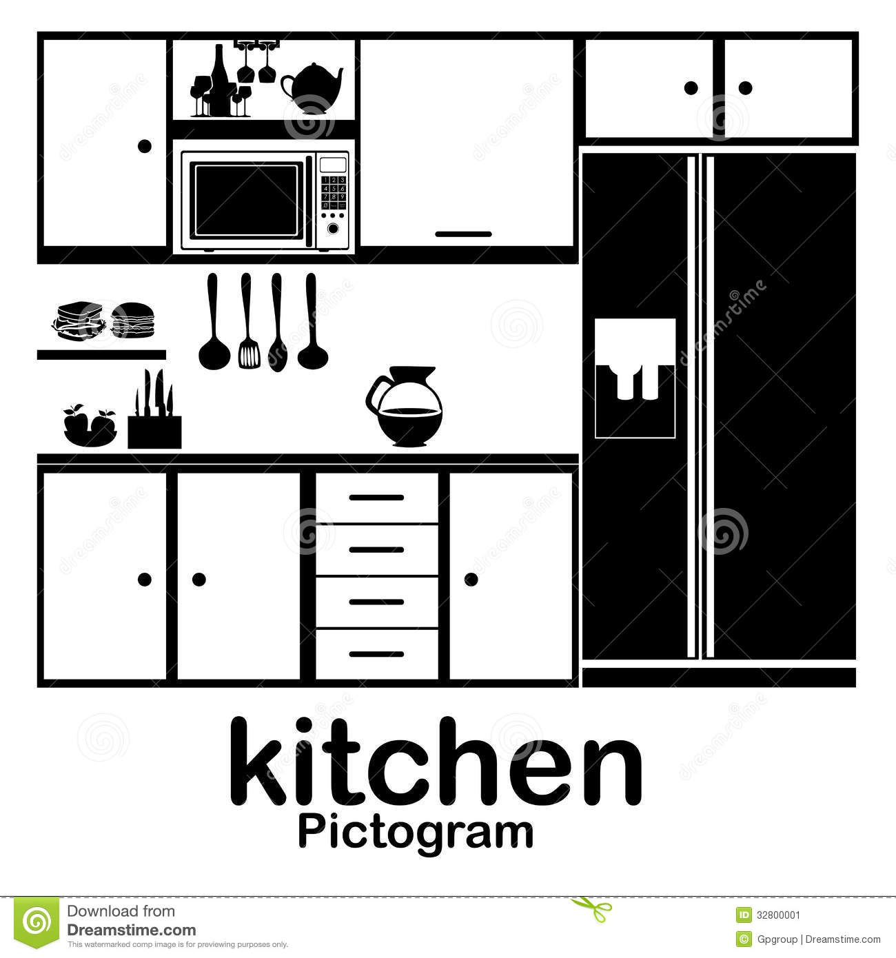 Kitchen Stock Vector Image Of Cooker Fridge Collection