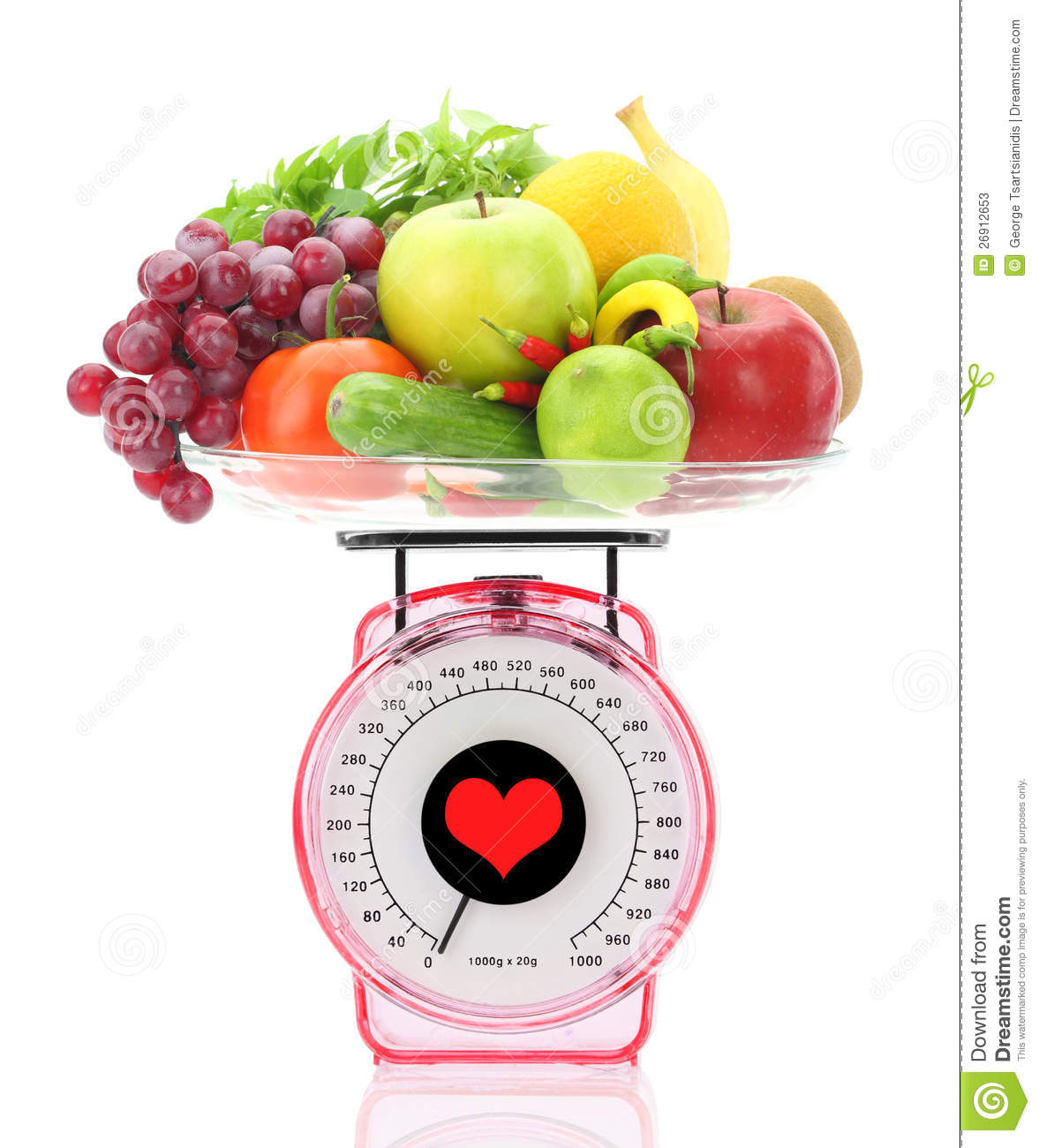 Kitchen Scale With Fruits And Vegetables Stock Image